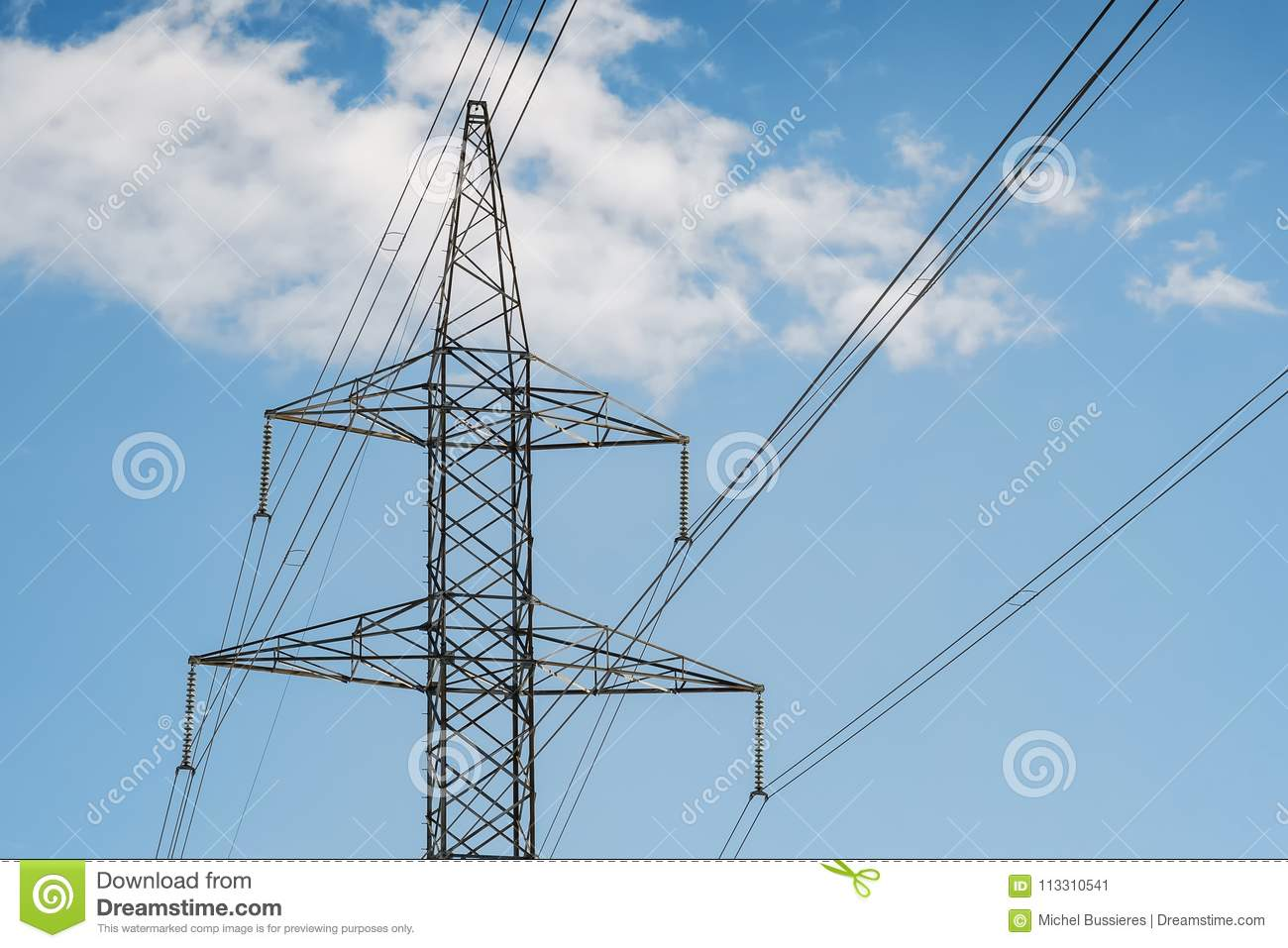 Electrical Tower Pylon And Wires On A Blue Sky With Clouds. Stock ...