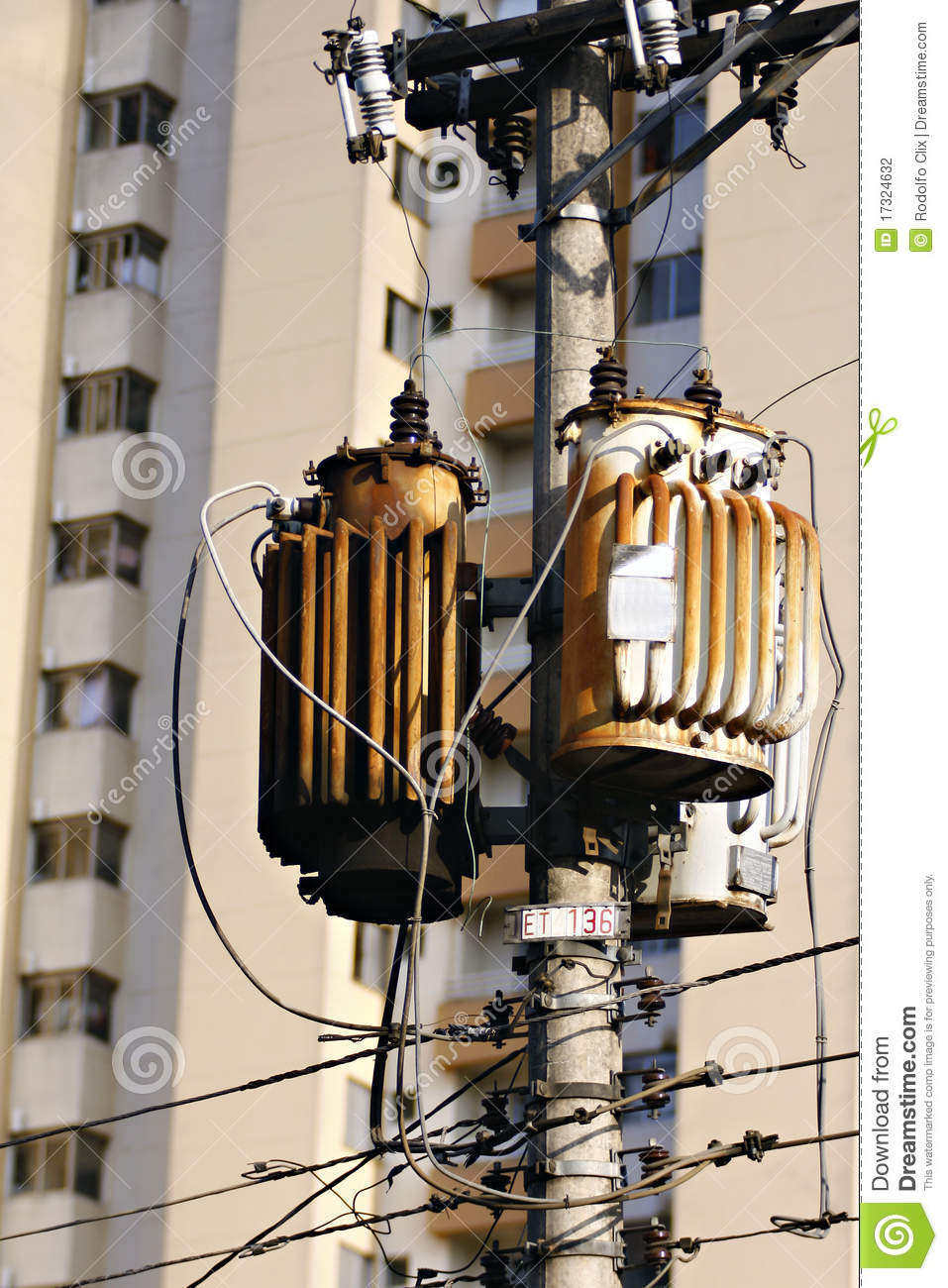 Electrical Transformer On Pole Stock Photo Image Of Wiring Transformers Together