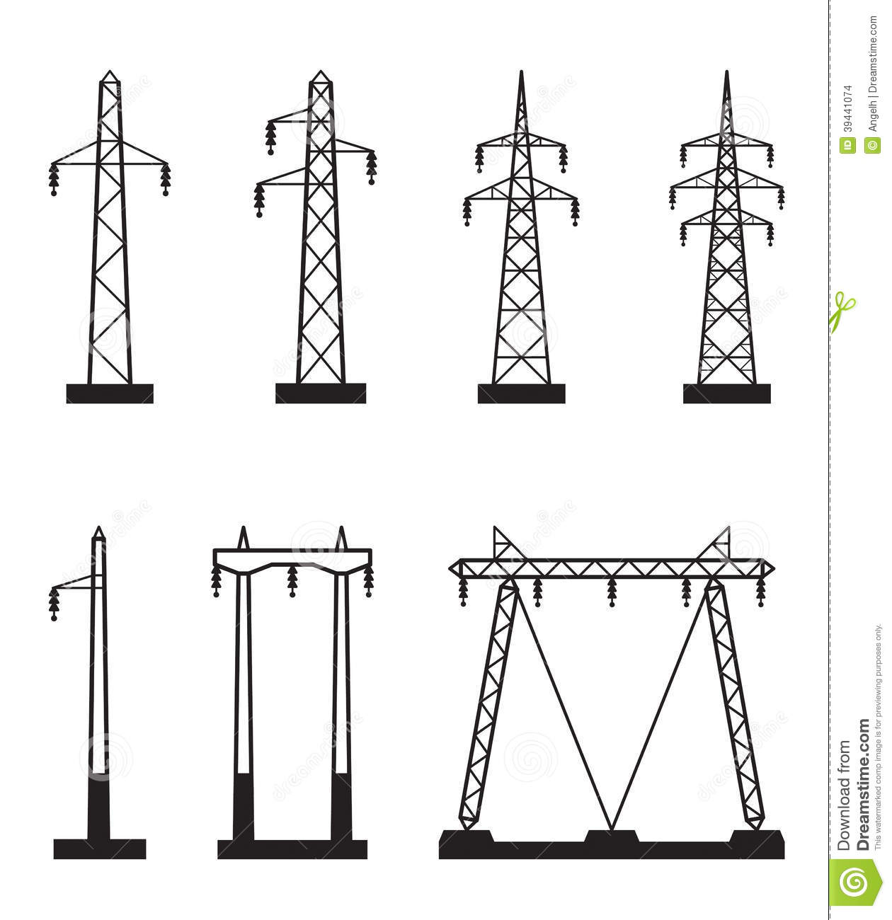 Types Of Electrical Poles : Electrical transmission tower types stock vector