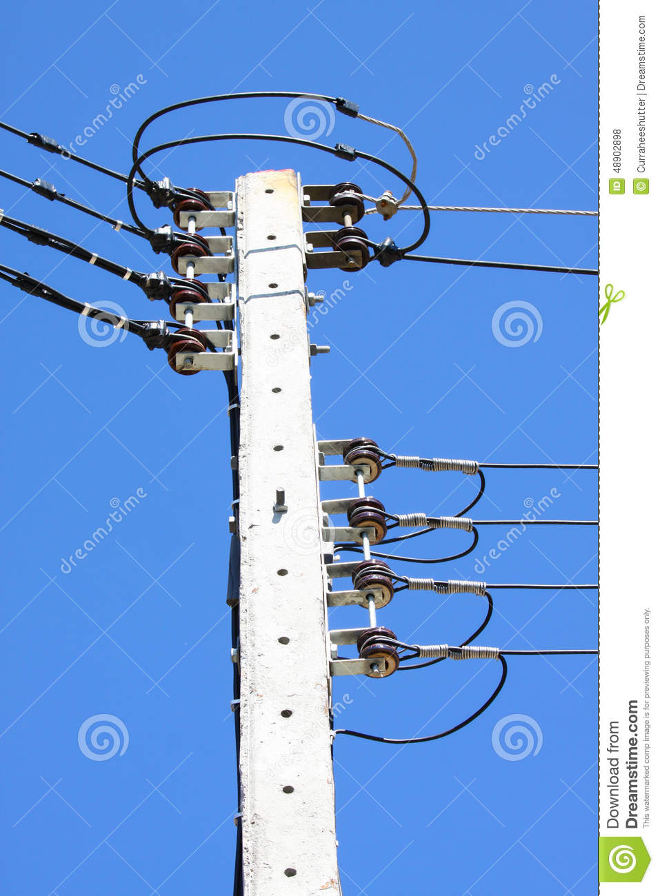 Cartoon Electrical Wire : Electric cable wire on sky background royalty free stock