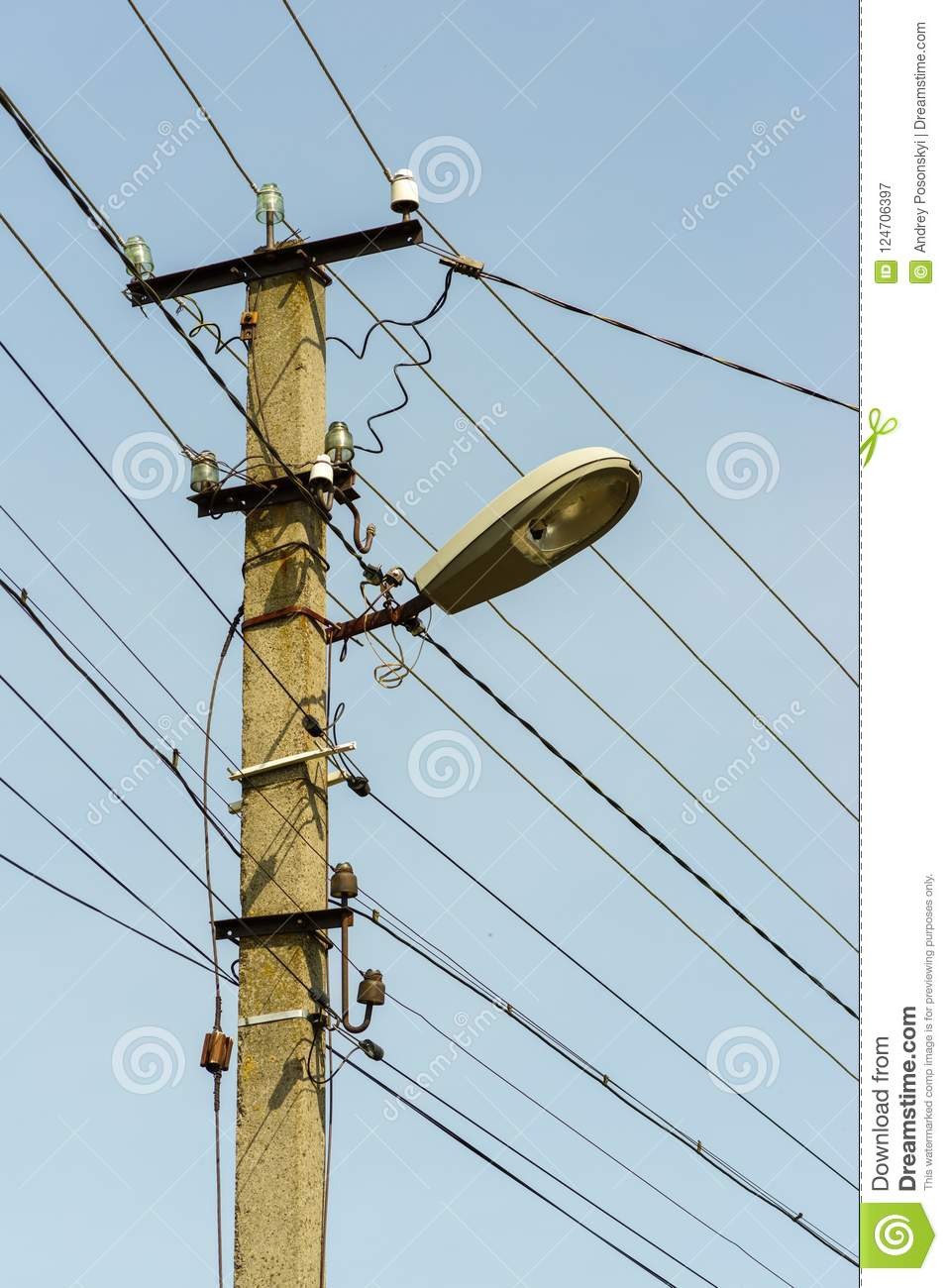 Electrical Wires And Connection On An Electric Post Stock Image ...
