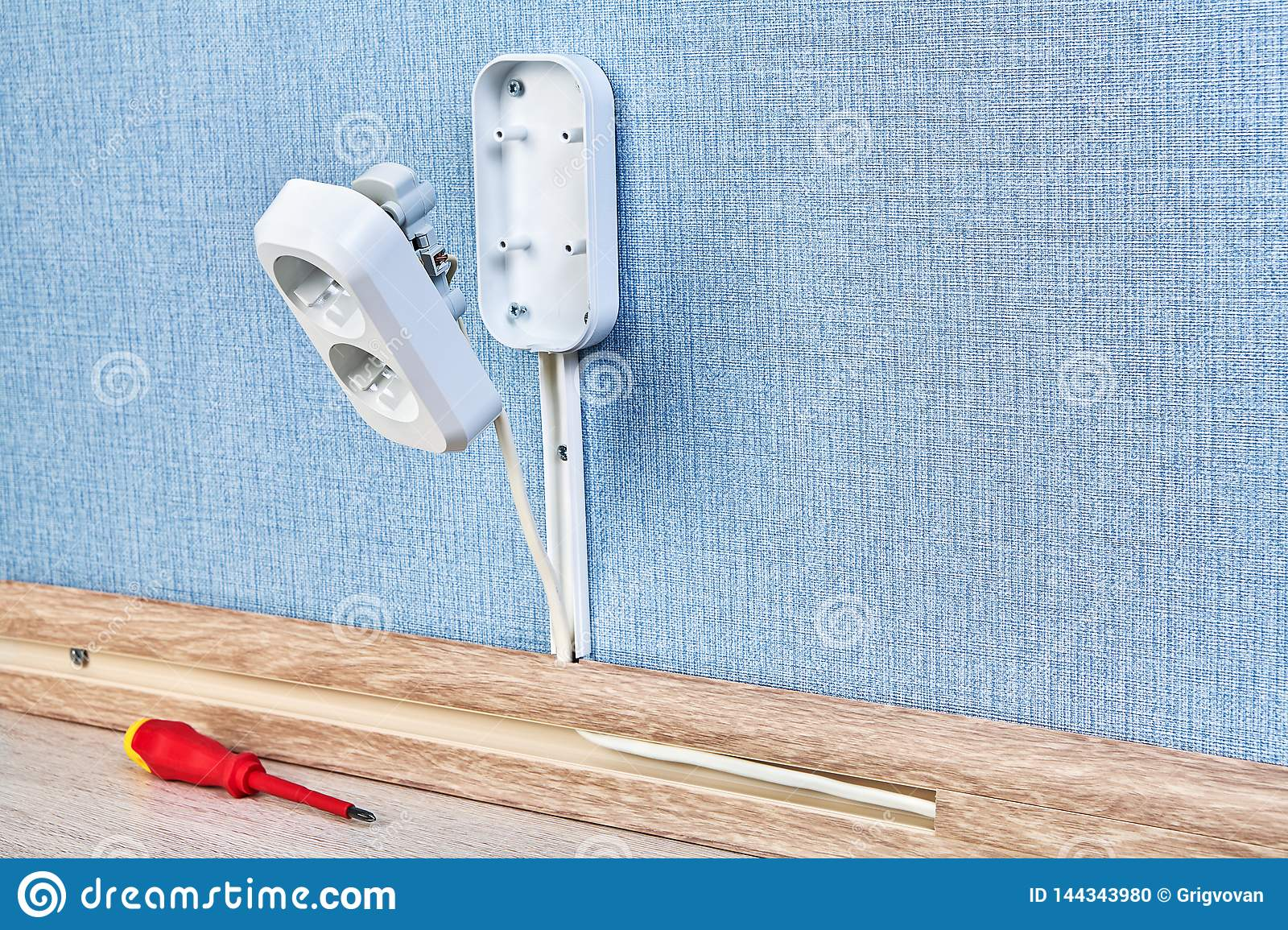 Electrical Wiring Installation Of Socket Stock Photo Image Of Screwdriver Connection 144343980