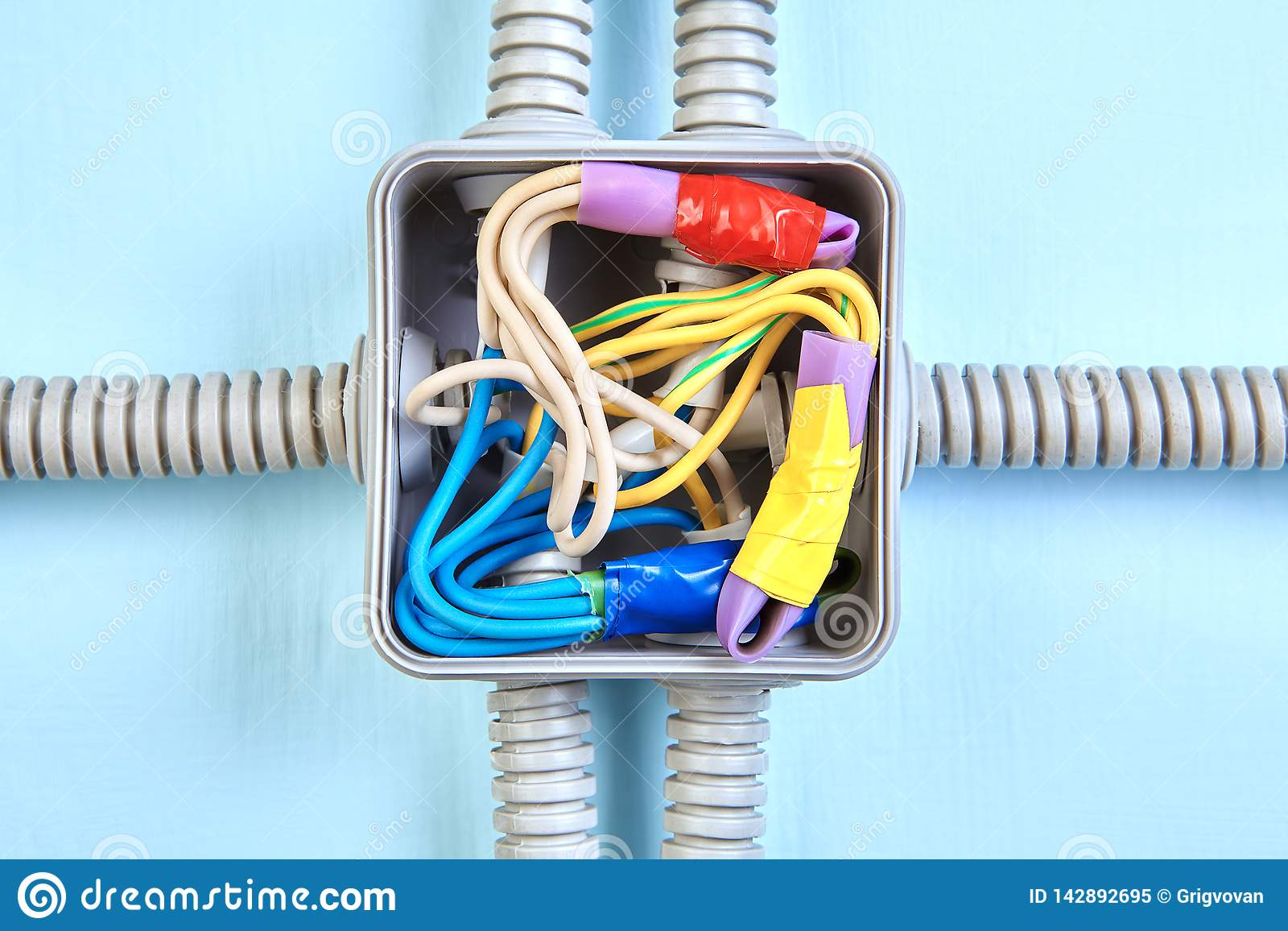 Electrical Wiring Junction Box, Close-up Stock Image - Image ... on