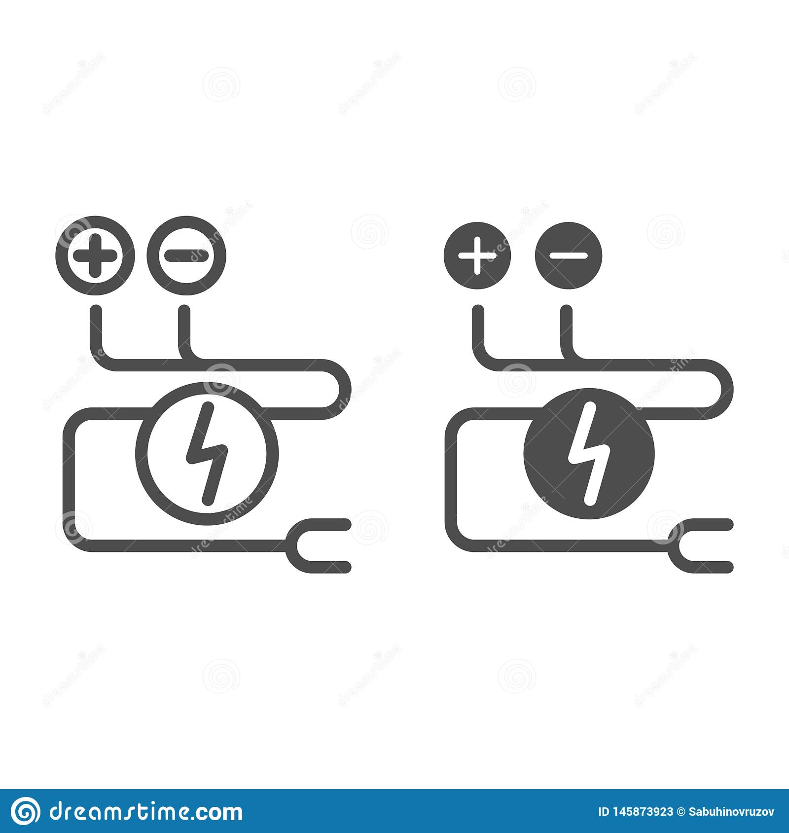 Electrical Wiring Line And Glyph Icon. Cable Vector ... on