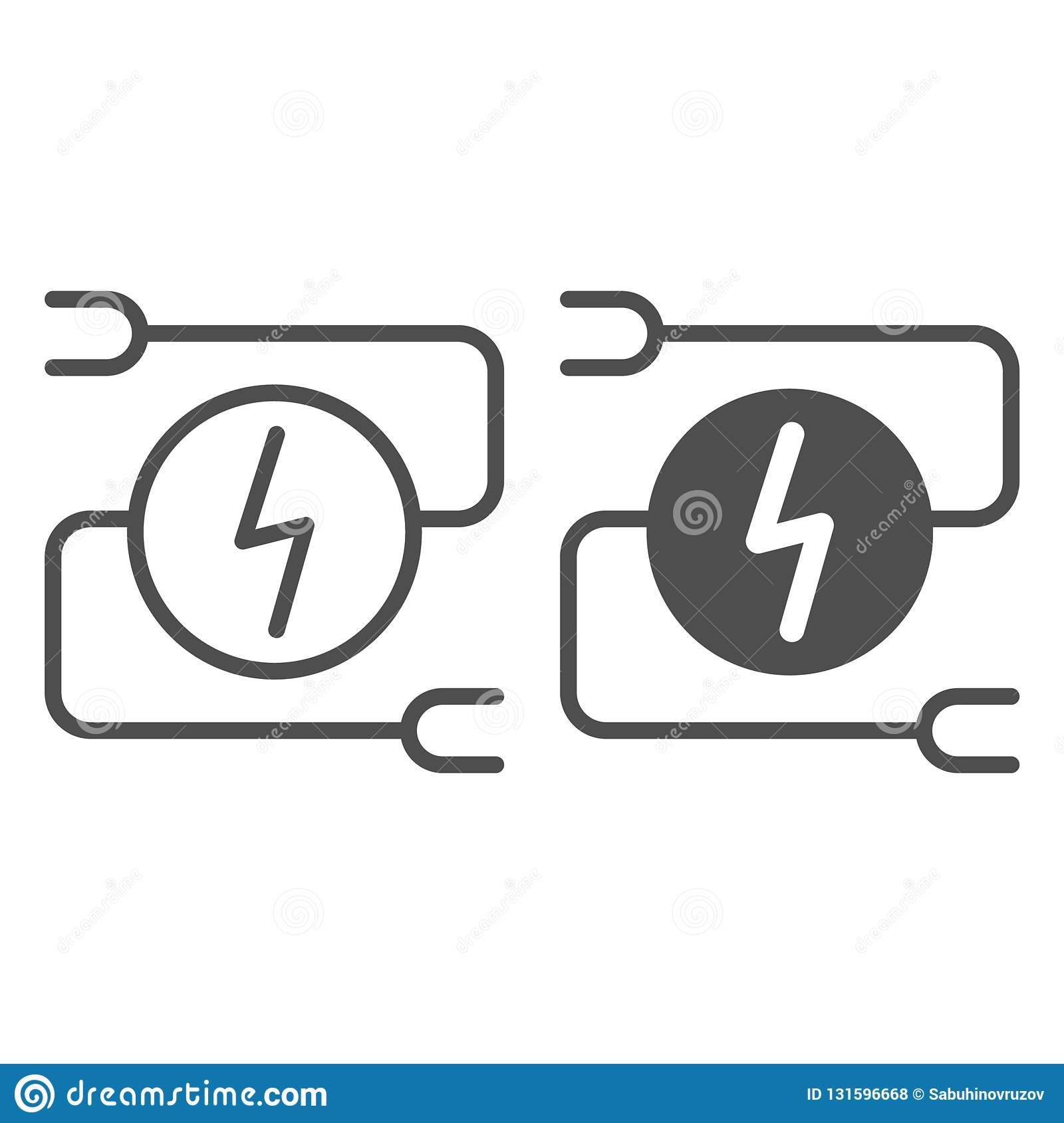 Electrical Wiring Line And Glyph Icon. Car Adapter Vector ... on