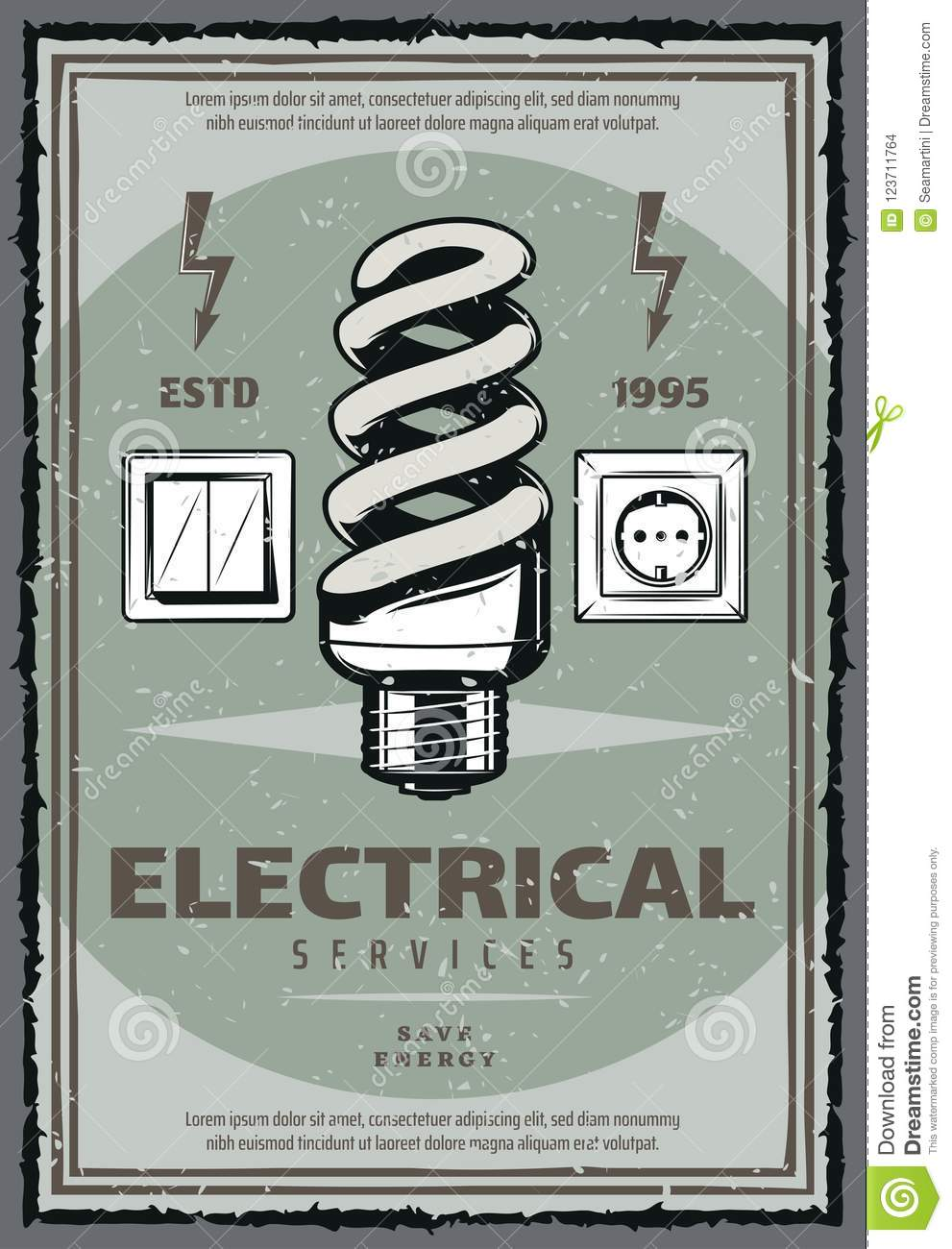 Electrical Service Vintage Poster With Light Bulb Stock Vector ...