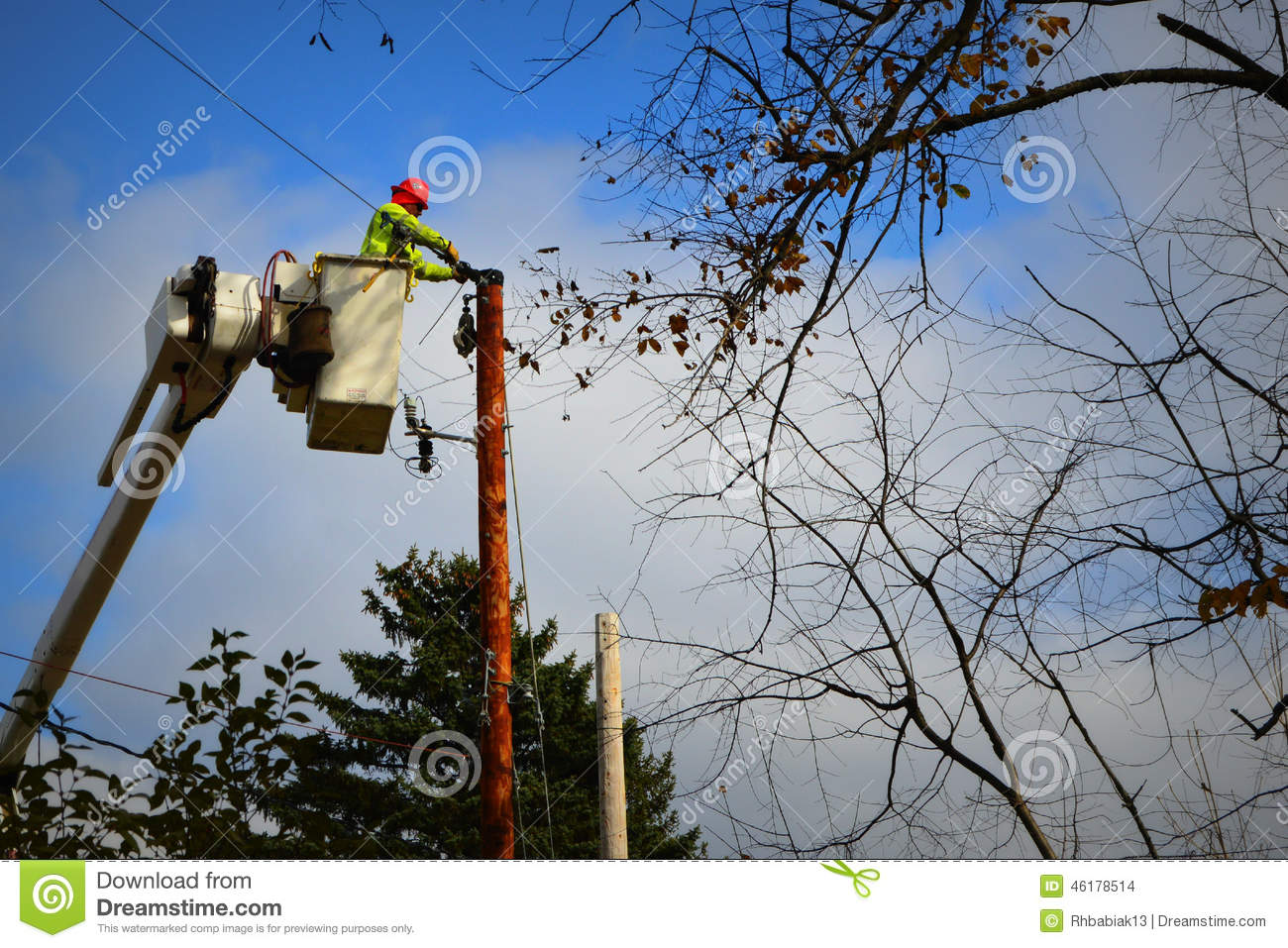 Electrical Worker fixing Electrical Pole Wires