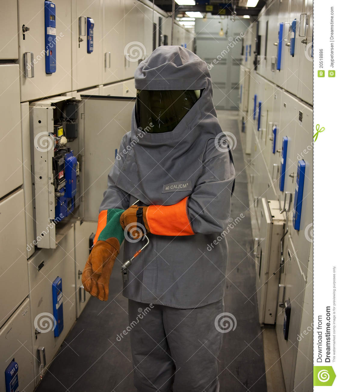 Electrical Worker In Protective Gear Royalty Free Stock