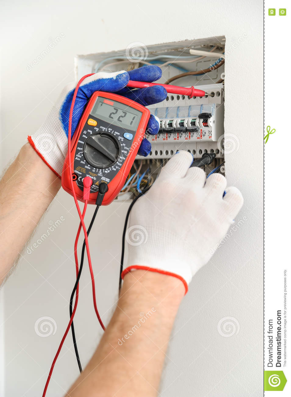 Electrician Check Voltage In Electrical Fuse Box Stock Image Home Wiring Download Of Installing