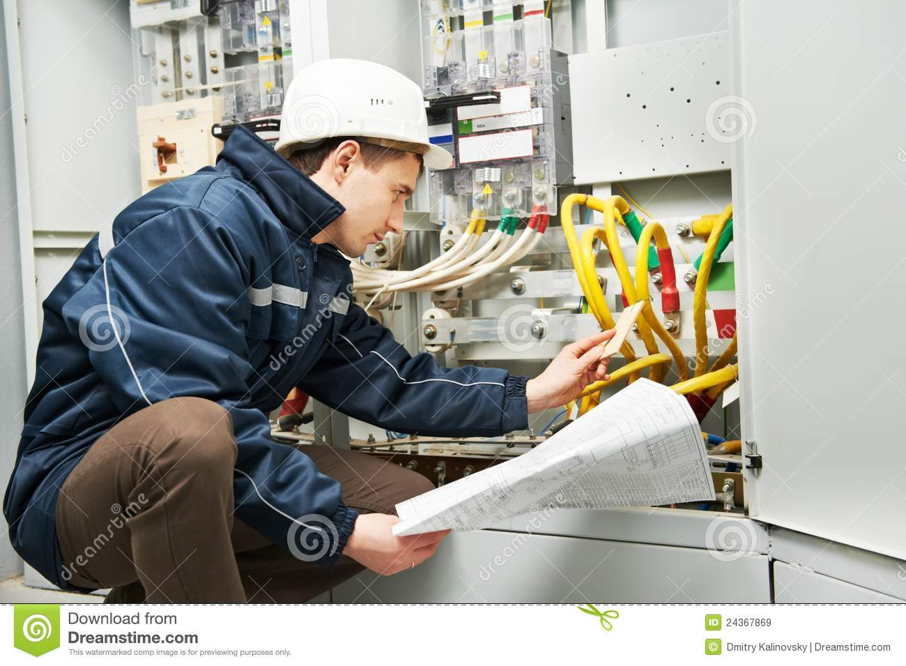 Electrician checking cabling power line