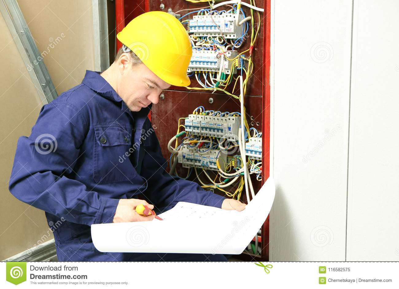 Distribution Board Wiring Diagram Electrician Checking Connections In According To