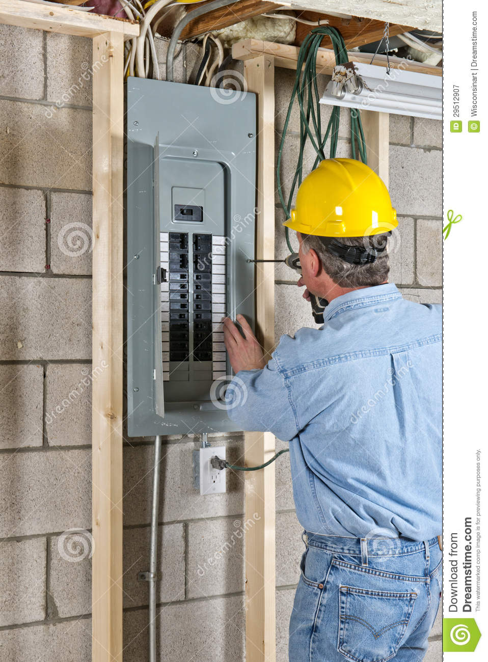 Electrician Contractor Construction Worker Stock Image - Image of ...