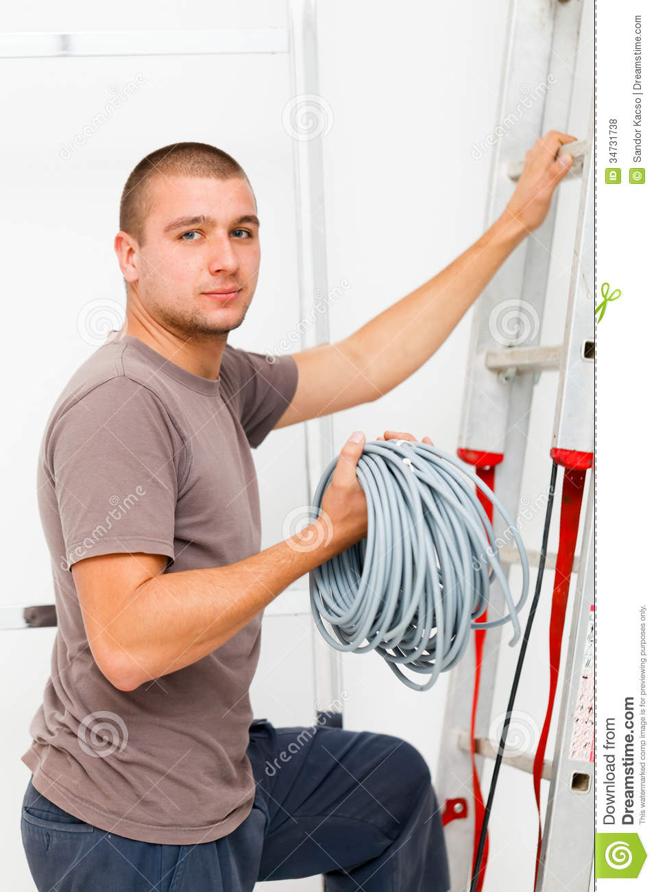 Electrician With Cords Royalty Free Stock Photos - Image: 34731738