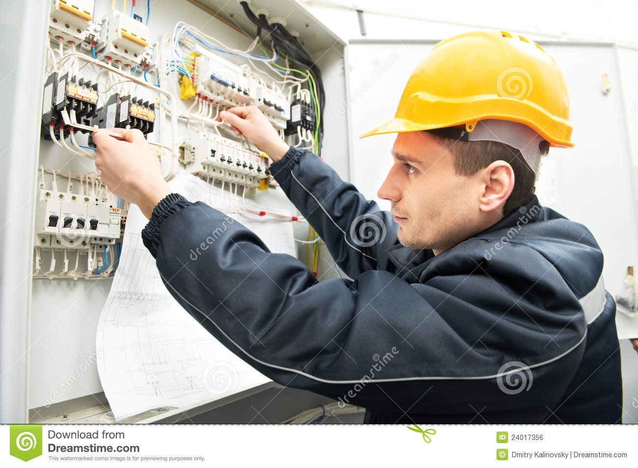 Electrician With Drawing At Power Line Box Royalty Free Stock ...