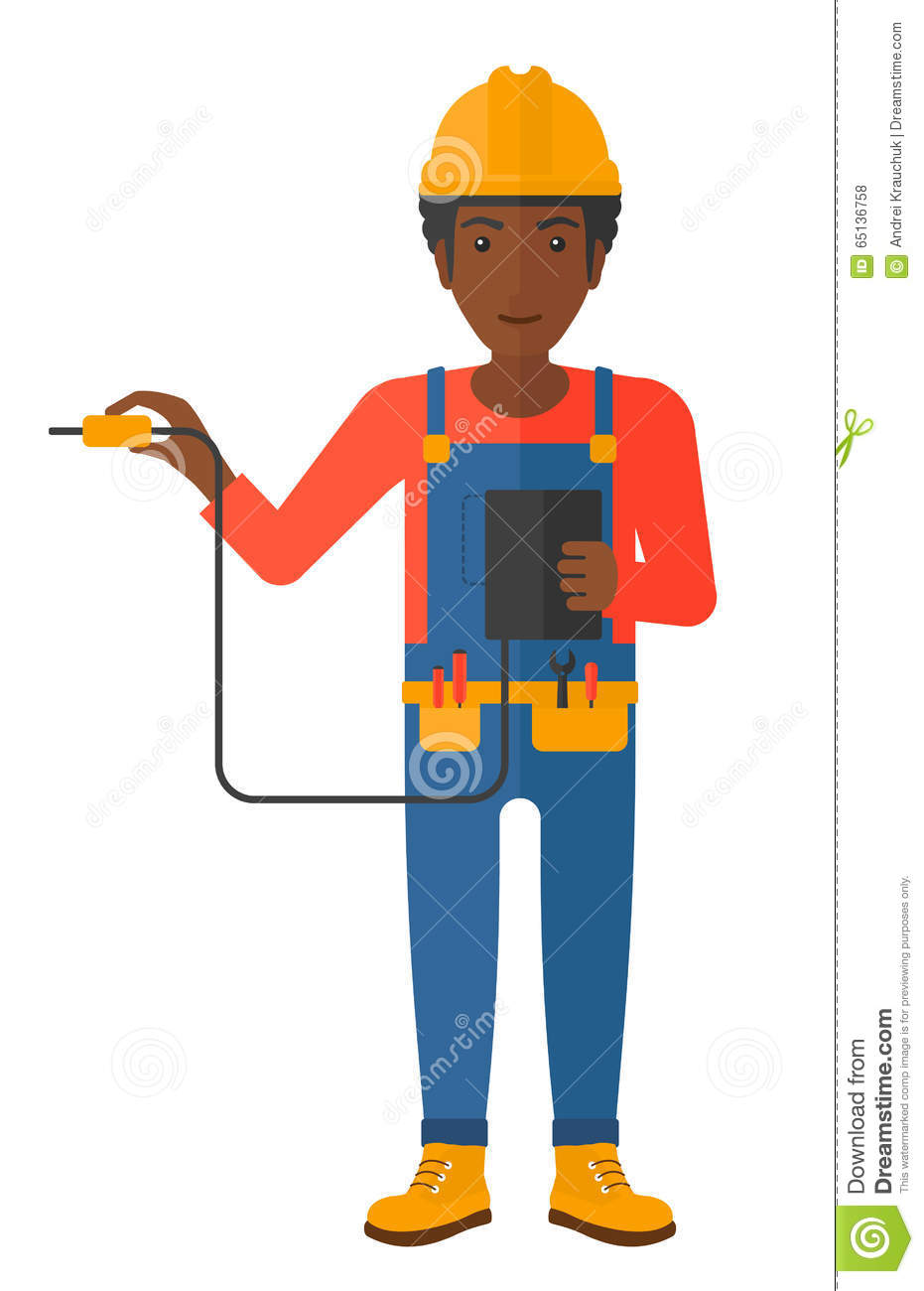 Measuring Electrical Equipments : Electrician with electrical equipment vector illustration