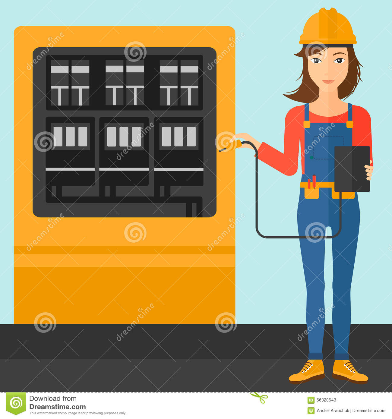 Measuring Electrical Products : Electrician with electrical equipment vector illustration
