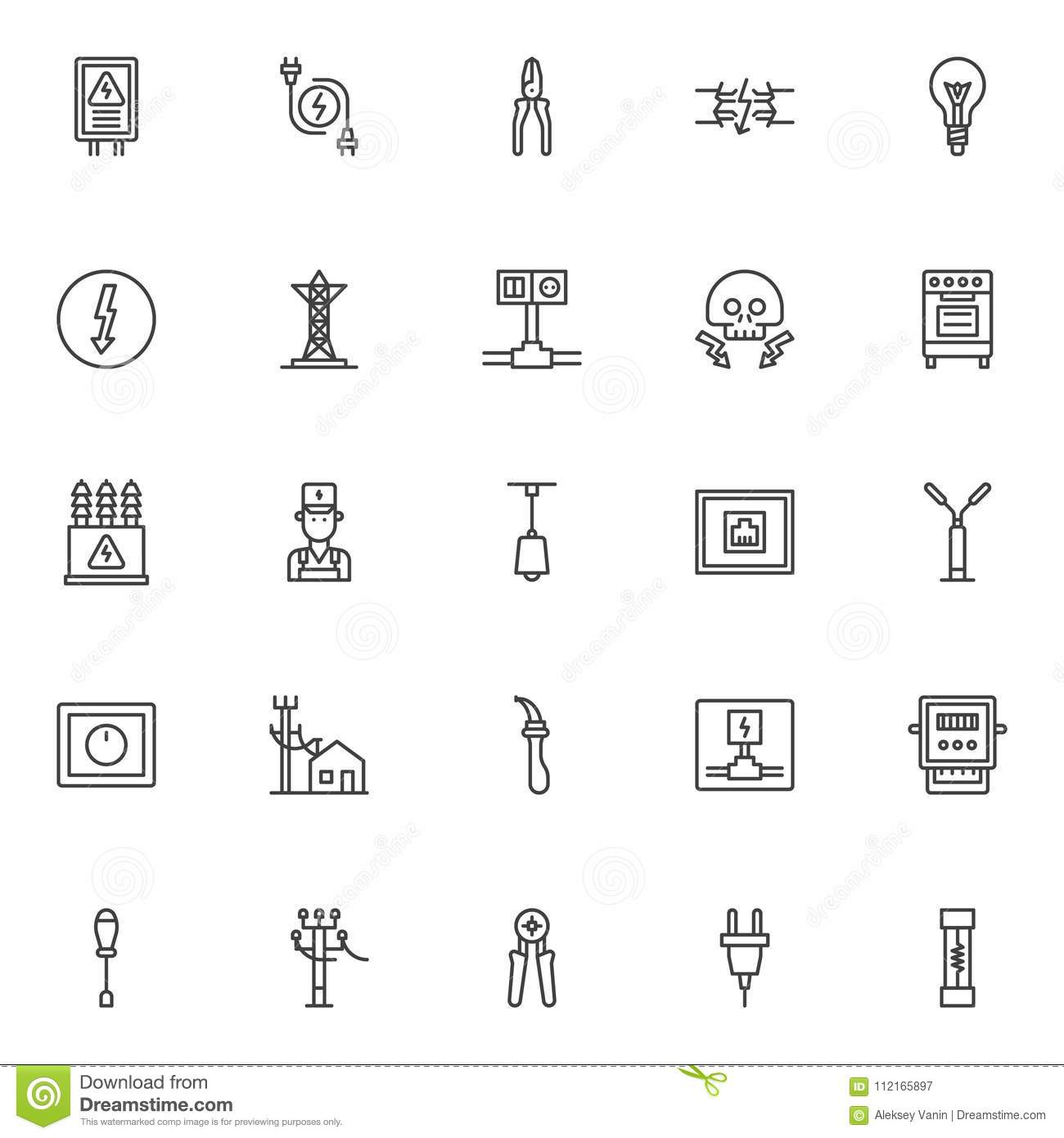 Electrician Elements Outline Icons Set Stock Vector Illustration