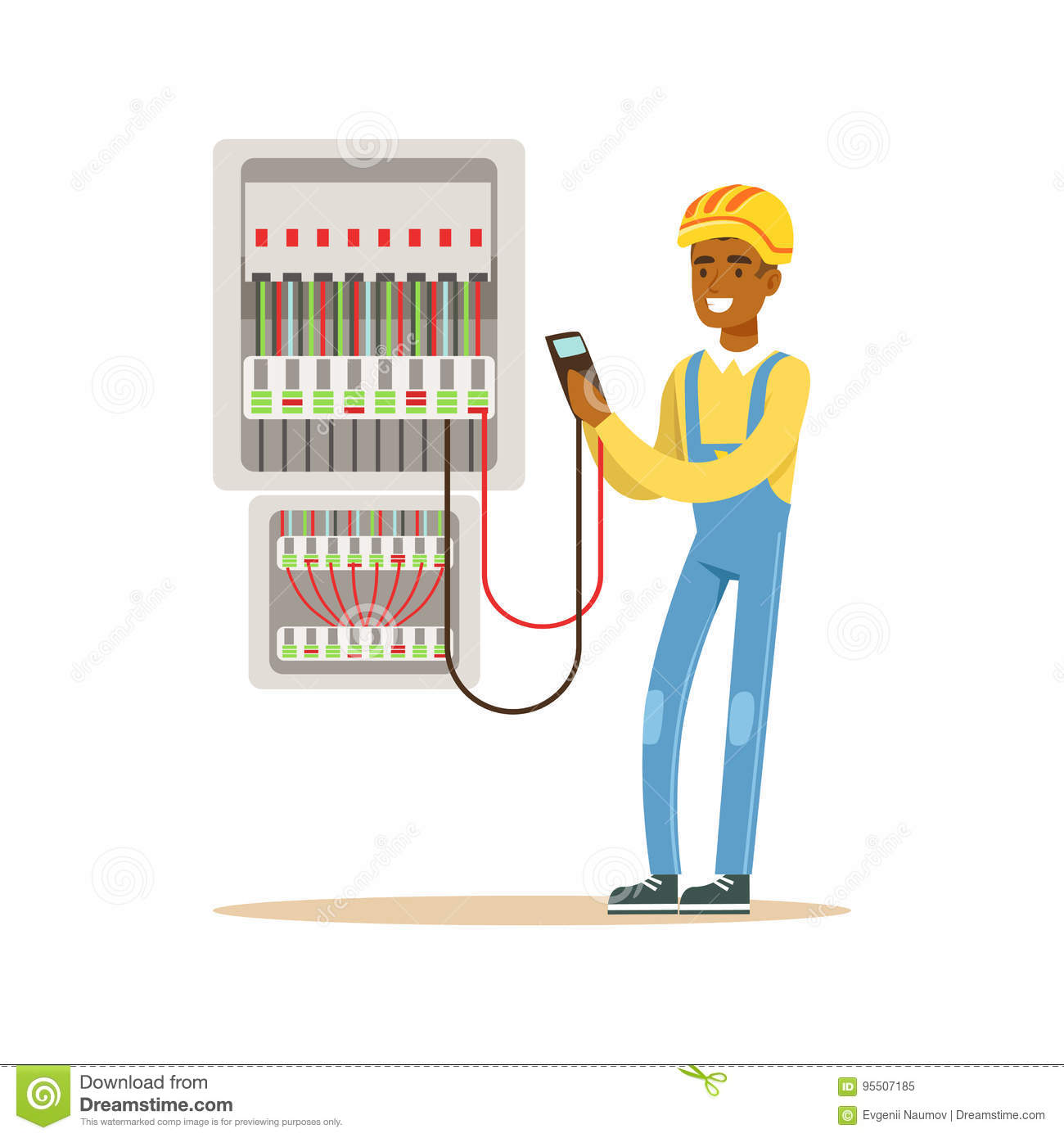fuse box cartoon best wiring library 97 F150 Fuse Diagram electrician engineer measuring the voltage output in fuse box, electric man performing electrical works vector