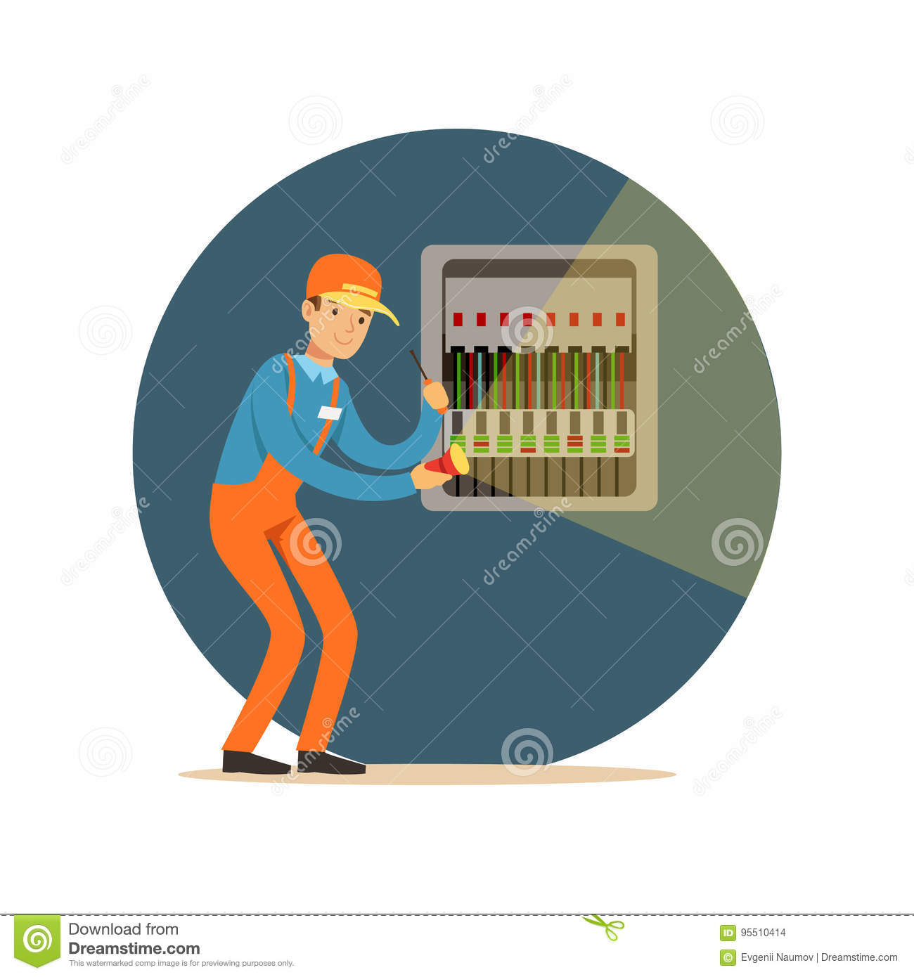 electrician engineer repairing equipment in fuse box with flashlight rh dreamstime com 2000 Ford F-150 Fuse Box Diagram Electrical Safety Cartoons