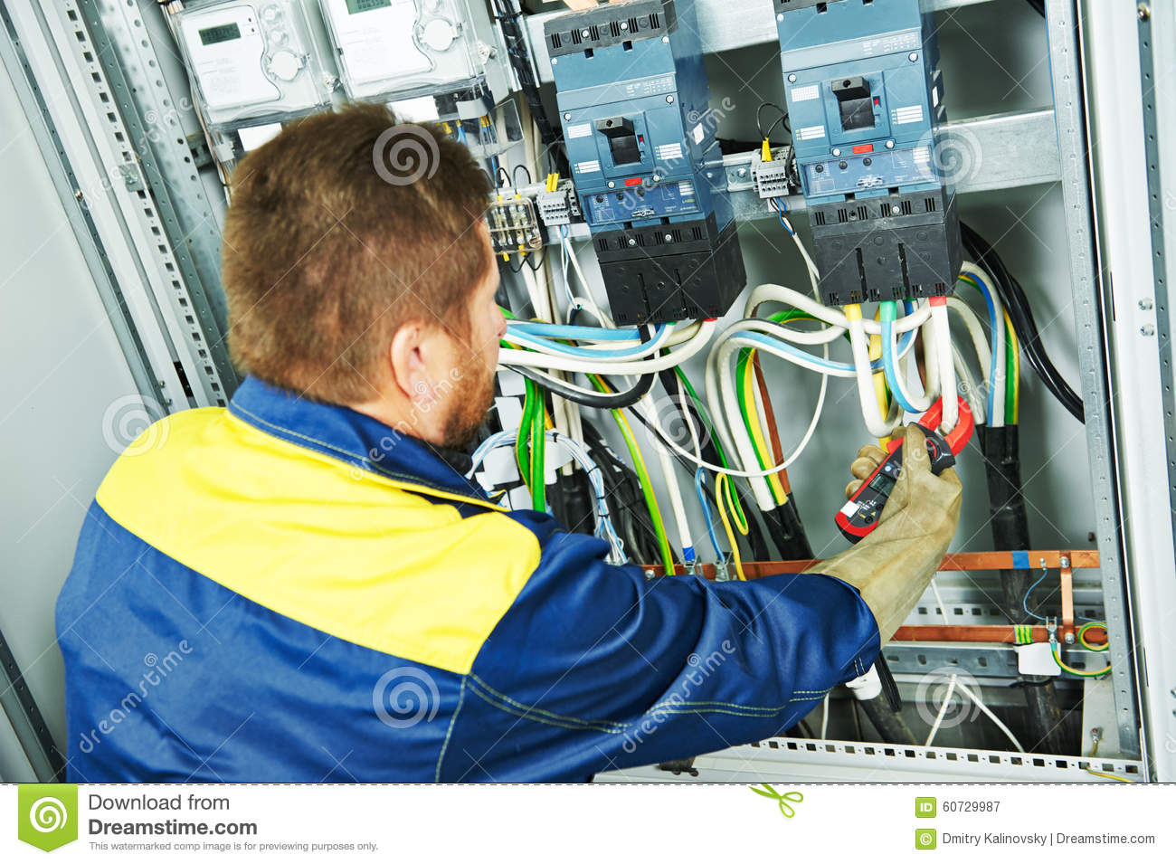 Electrical Engineer Equipment : Electrician engineer worker stock image of