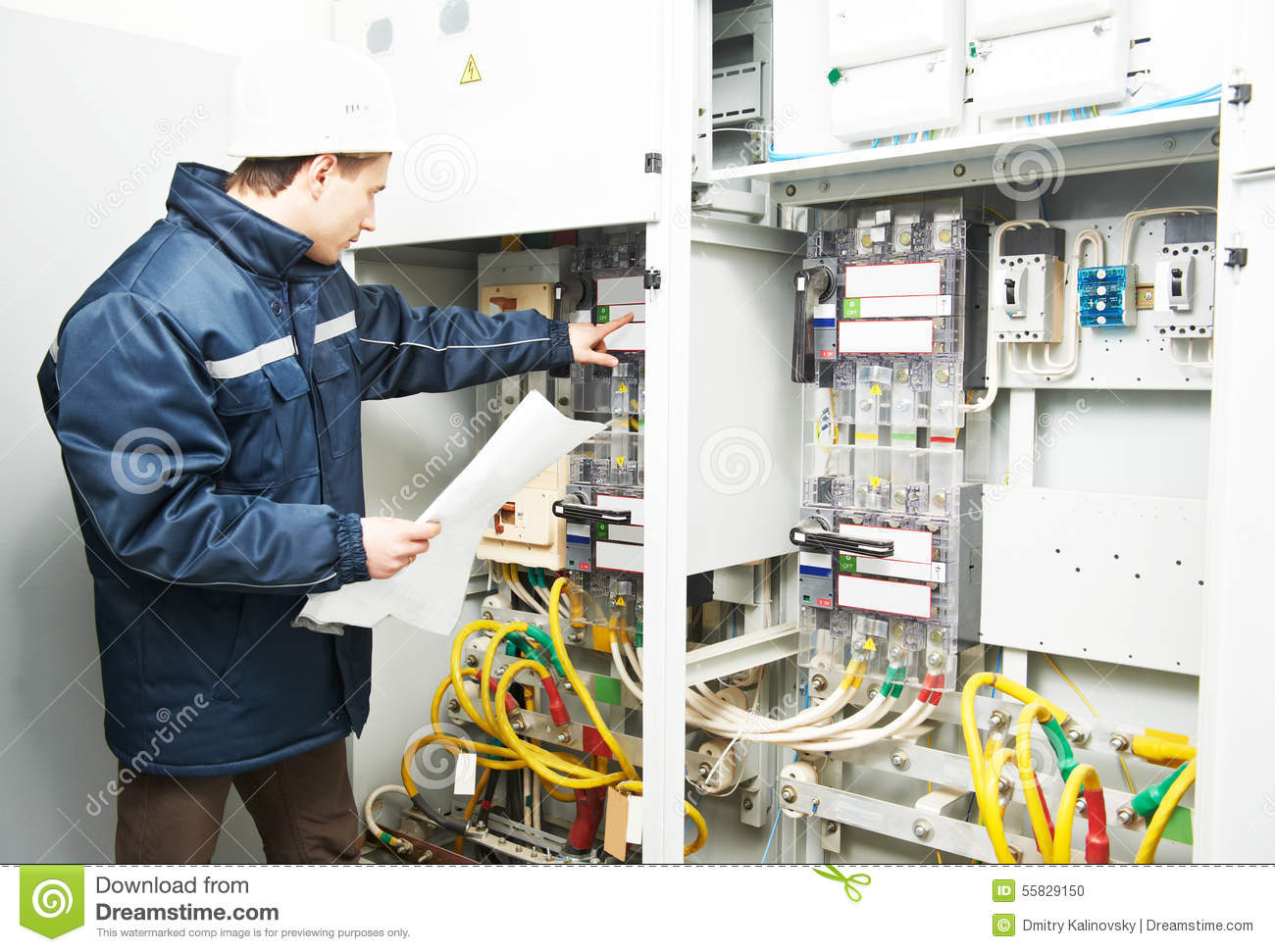Fuse Box Home Inspection : Electrician engineer worker stock photo image