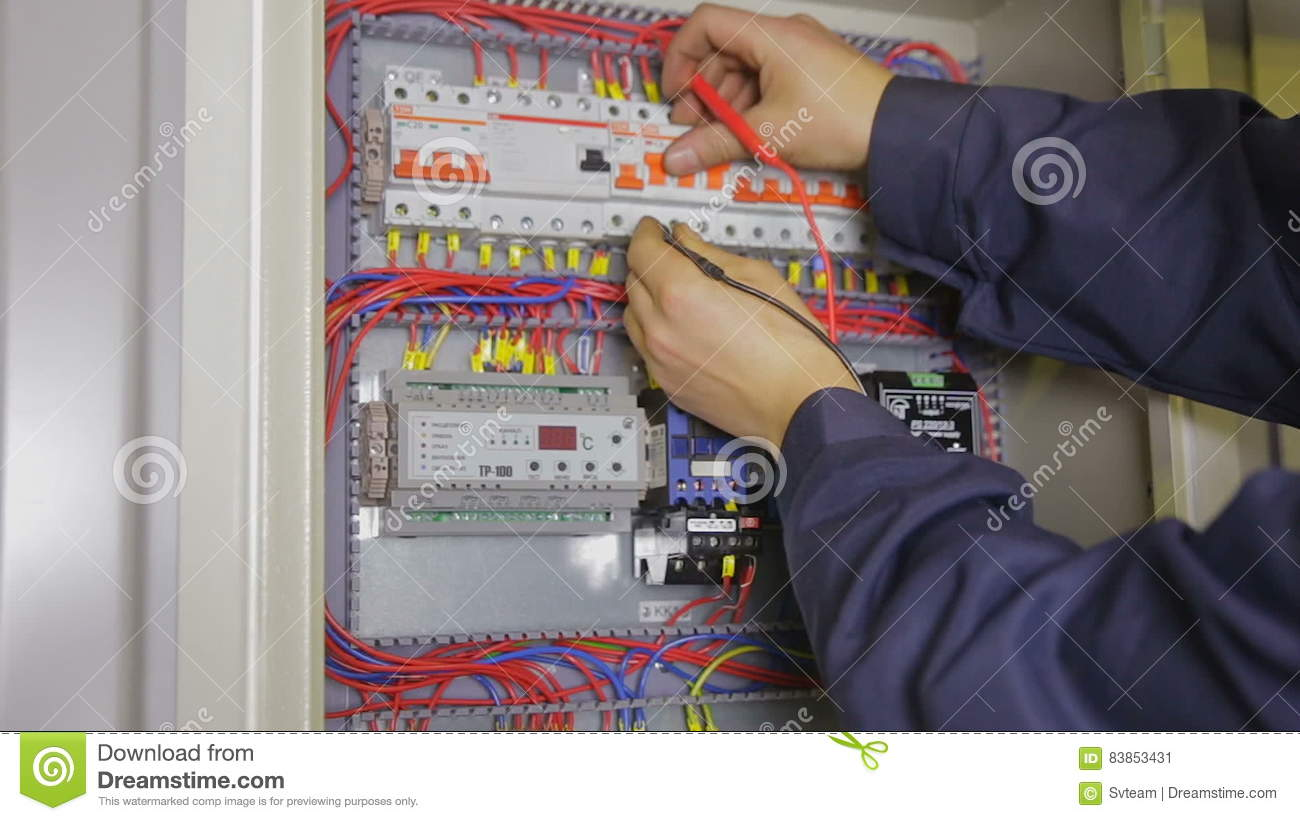 Electrician Hands Checking Circuit Breakers In Electrical Fuse Box Circuits Stock Video Of Male 83853431