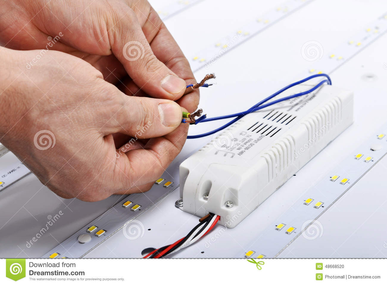 Electrician Hands Connect Wires Of Led Lamp Stock Photo - Image of ...