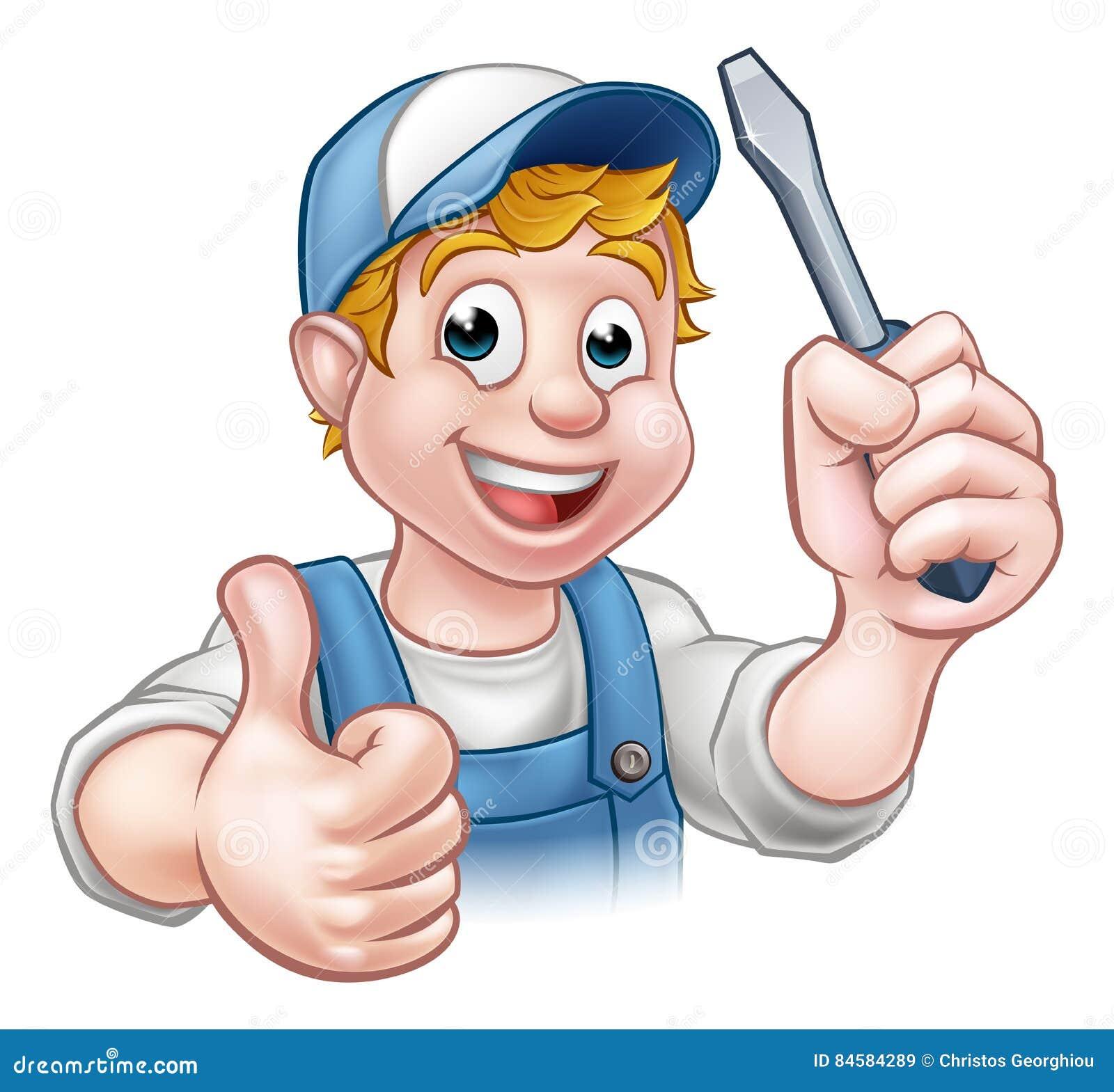 Cartoon handyman logo vector illustration cartoondealer