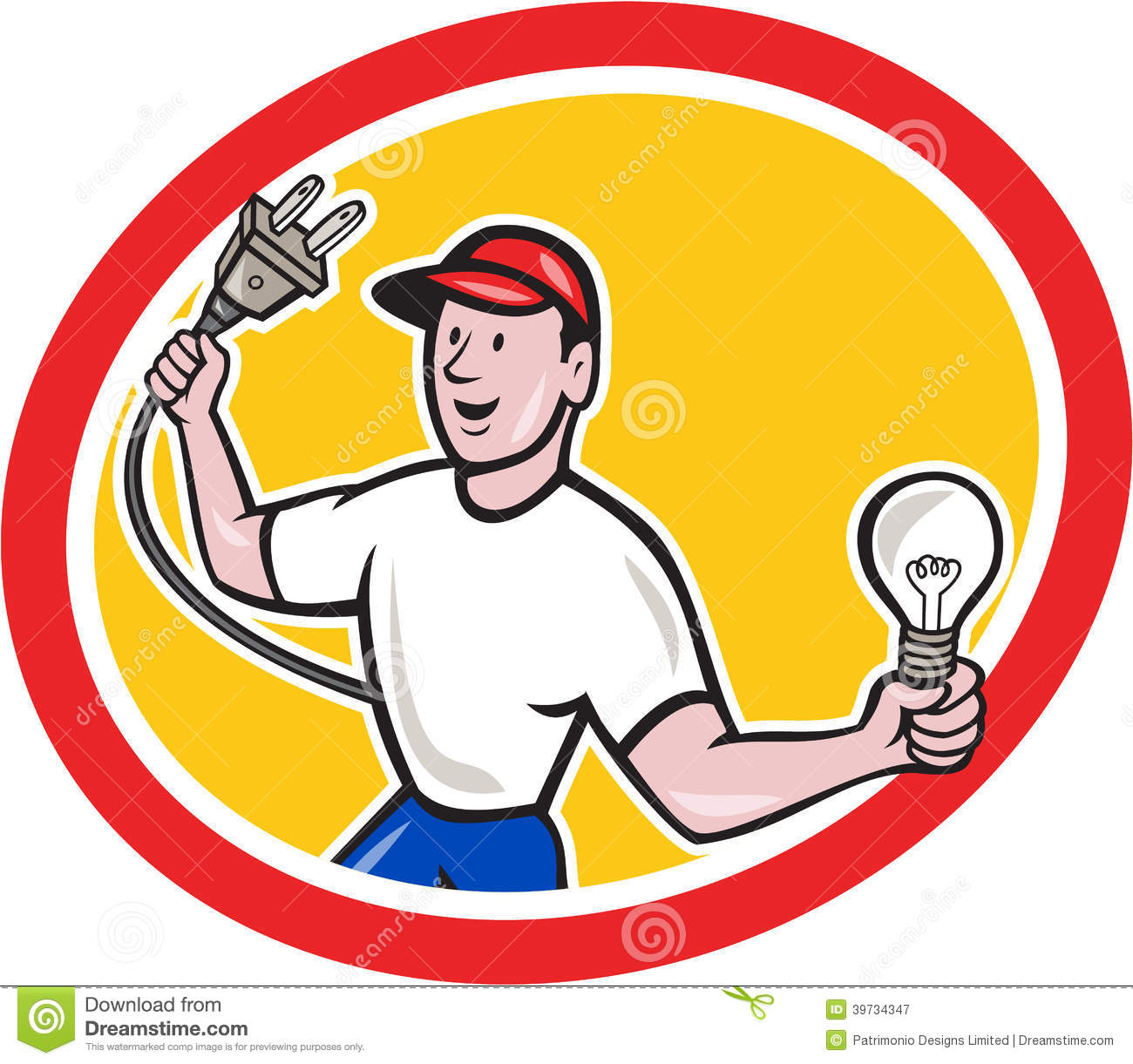 Royalty Free Stock Photography Electrician Holding Electric Plug Bulb Cartoon Illustration Worker One Hand Light Other Facing Front Set Image39734347 on electrical outlet clip art