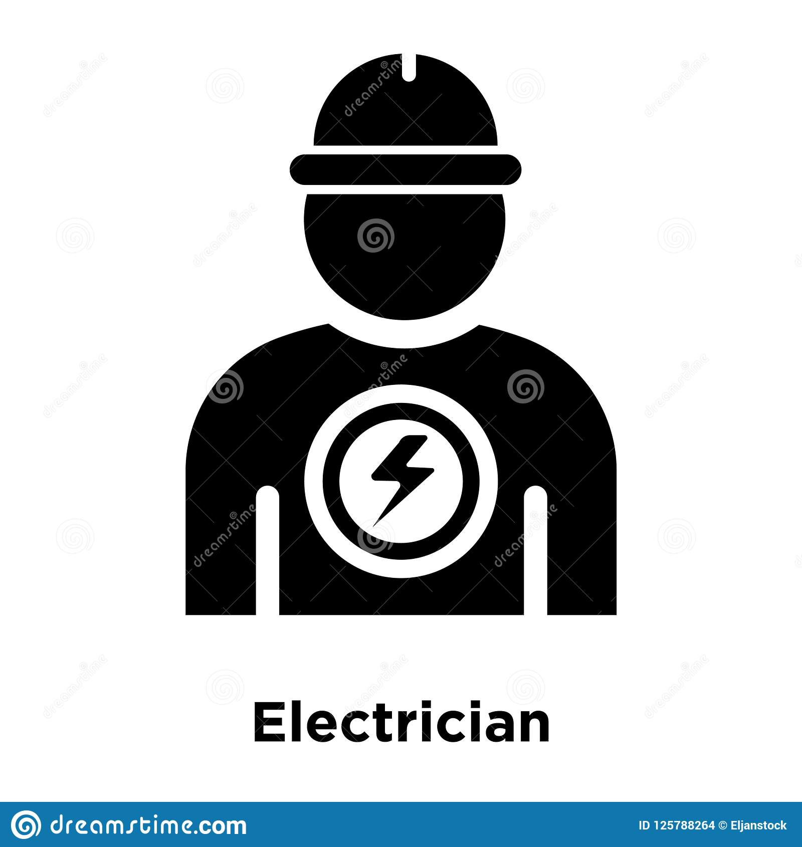 Electrician Icon Vector Isolated On White Background Logo Conce