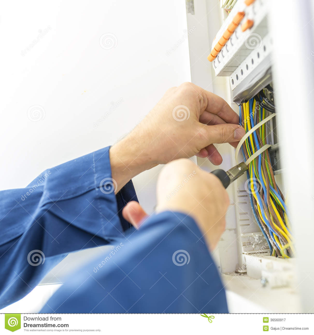 Electrician Installing An Electrical Fuse Box Stock Image Of Electric Home Download Electricity House