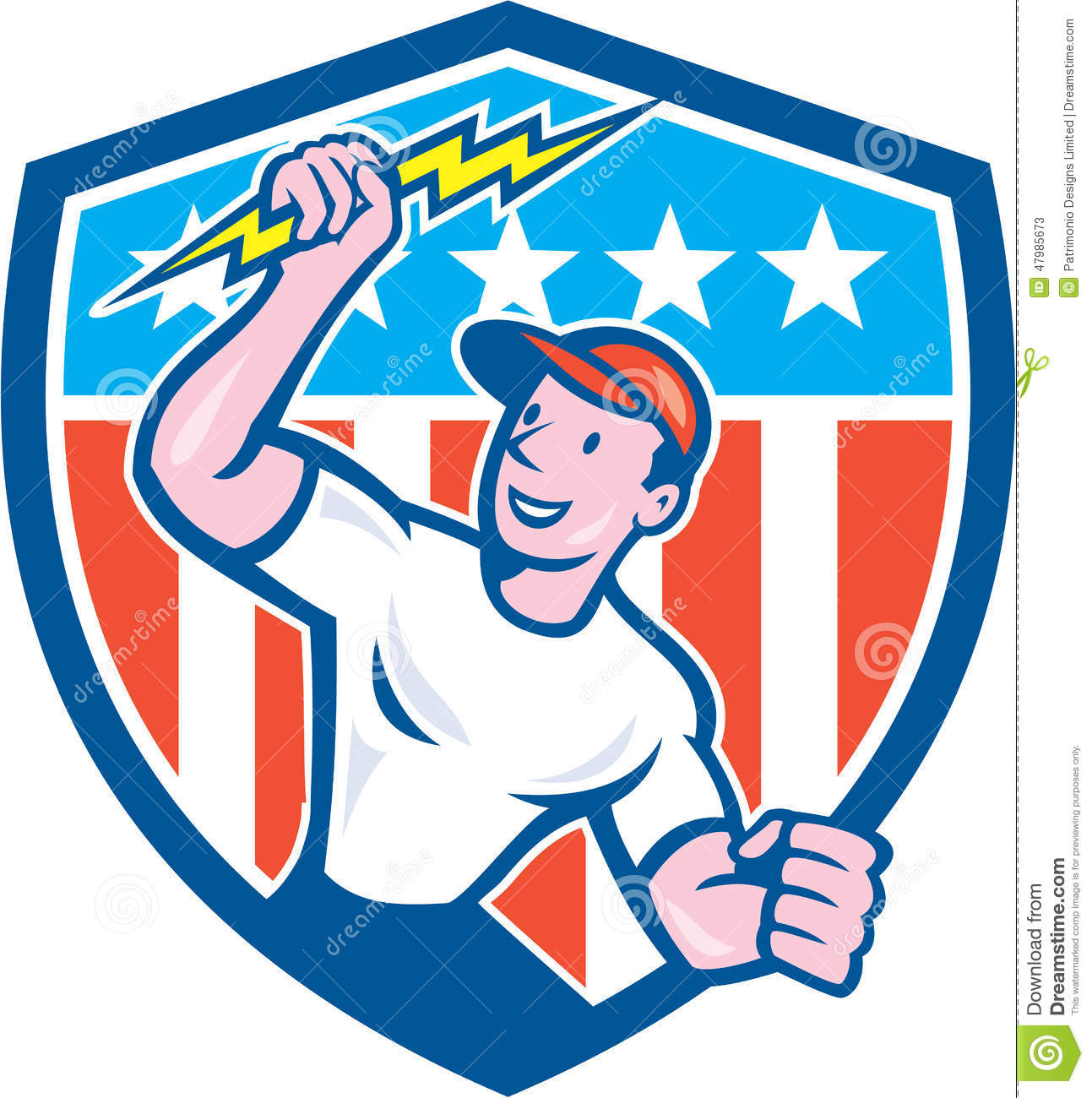 Coloring Page With The Electrician: Electrician Lightning Bolt USA Flag Cartoon Stock Vector