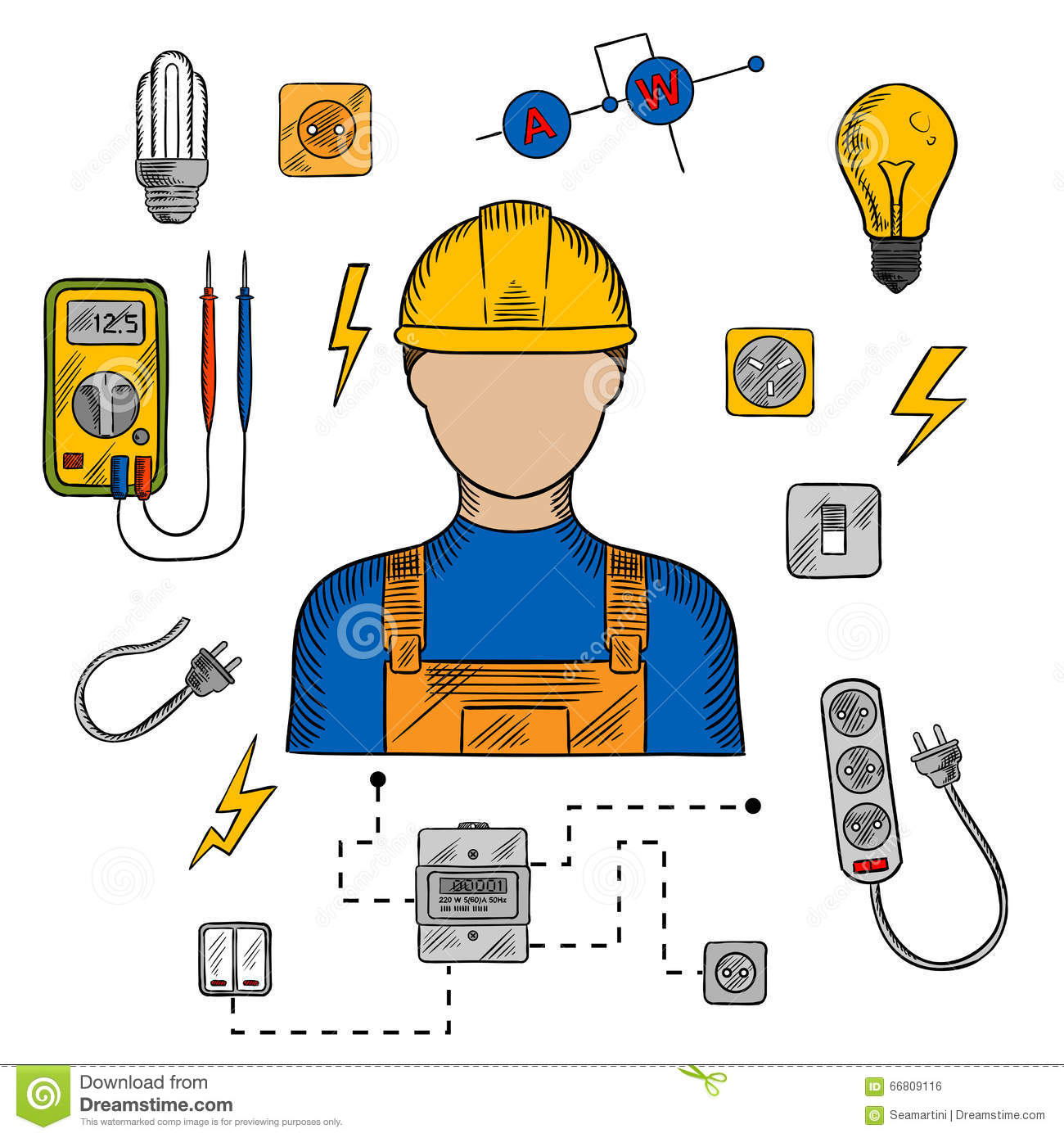 Electrician Man Tools And Equipment Stock Vector