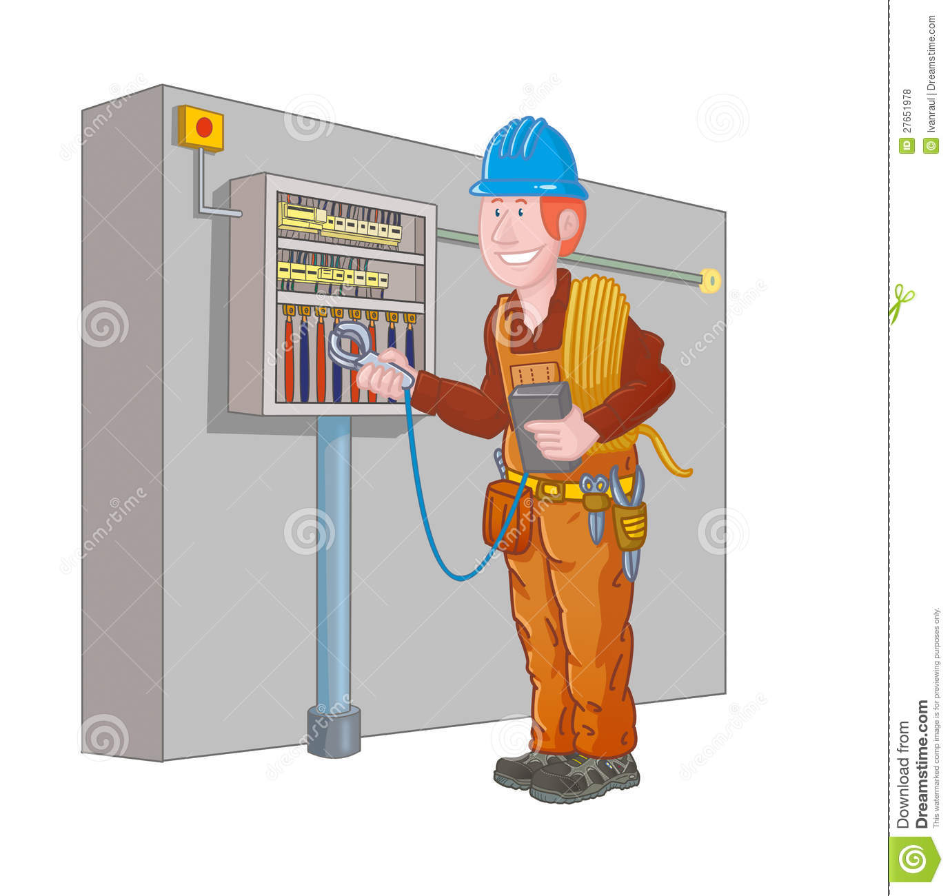 Measuring Electrical Panels : Electrician measure the electrical panel stock