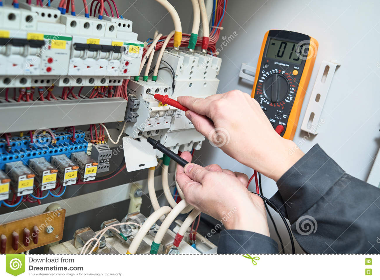 Electrician Measurements With Multimeter Tester Stock Photo Image Heating  And Air Conditioning Fuse Ac Dc Fuse Box