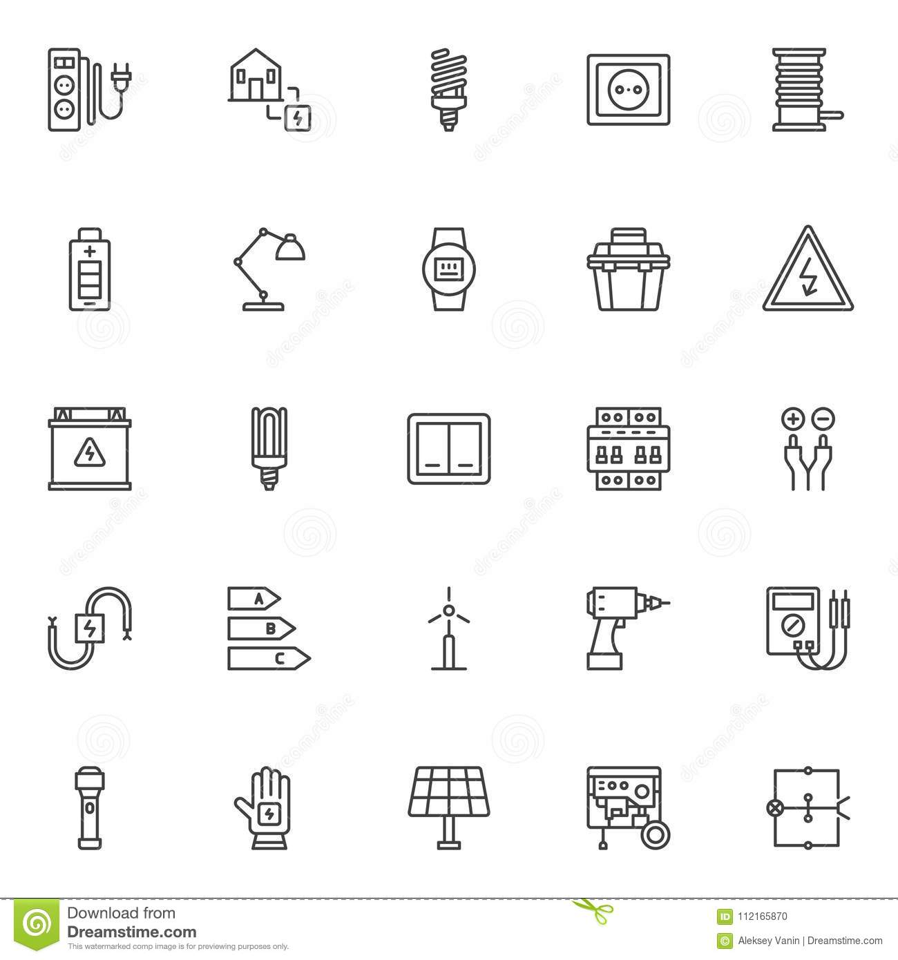 Electrician Outline Icons Set Stock Vector - Illustration of circuit ...