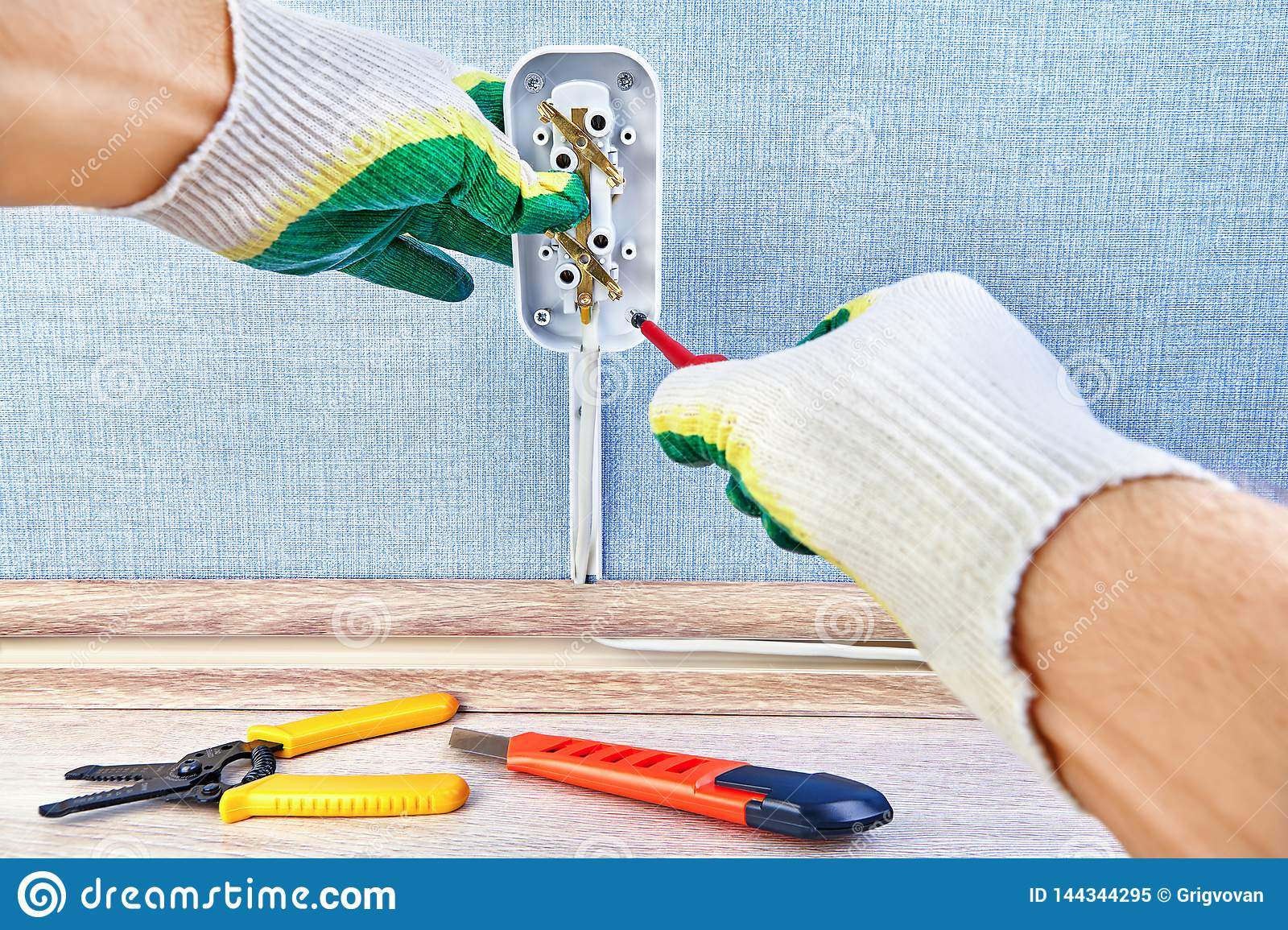 Twisting in wall outlet stock image. Image of electricity ... on wiring two outlets, wiring a set of outlets, wiring house outlets, wiring old outlets, wiring kitchen outlets, wiring multiple outlets,