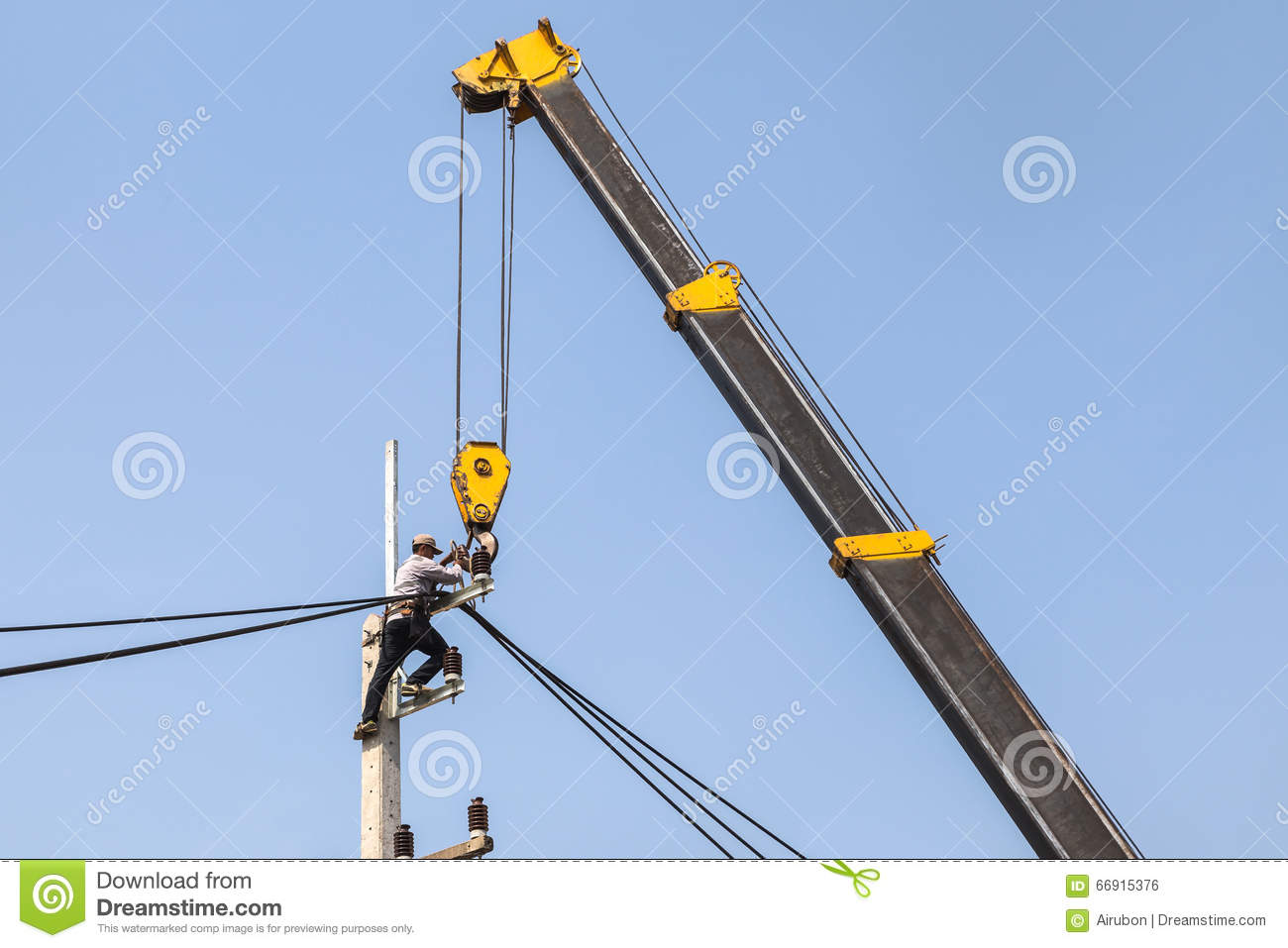 Electrician Repairing Wire Of The Power Line On Electric Power ...