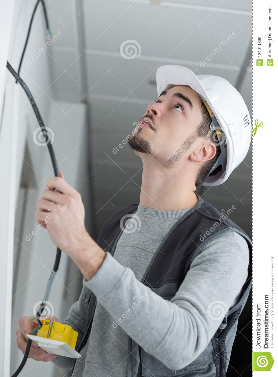 Marvelous Electrician Rewiring Light Switch In Office Stock Image Image Of Wiring Cloud Hisonuggs Outletorg