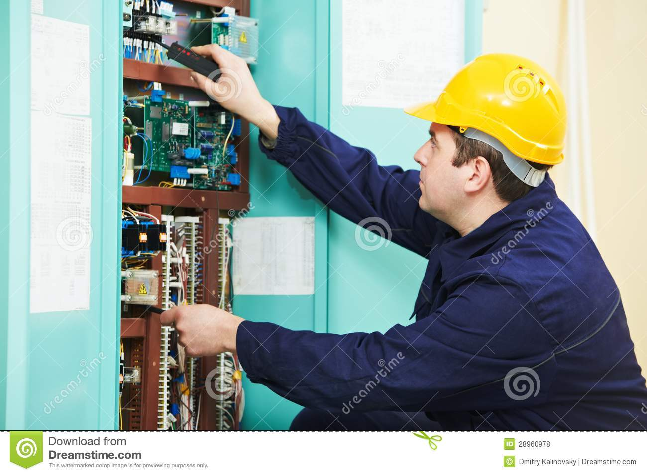 electrician at safety fuse device replace work stock photo. Black Bedroom Furniture Sets. Home Design Ideas