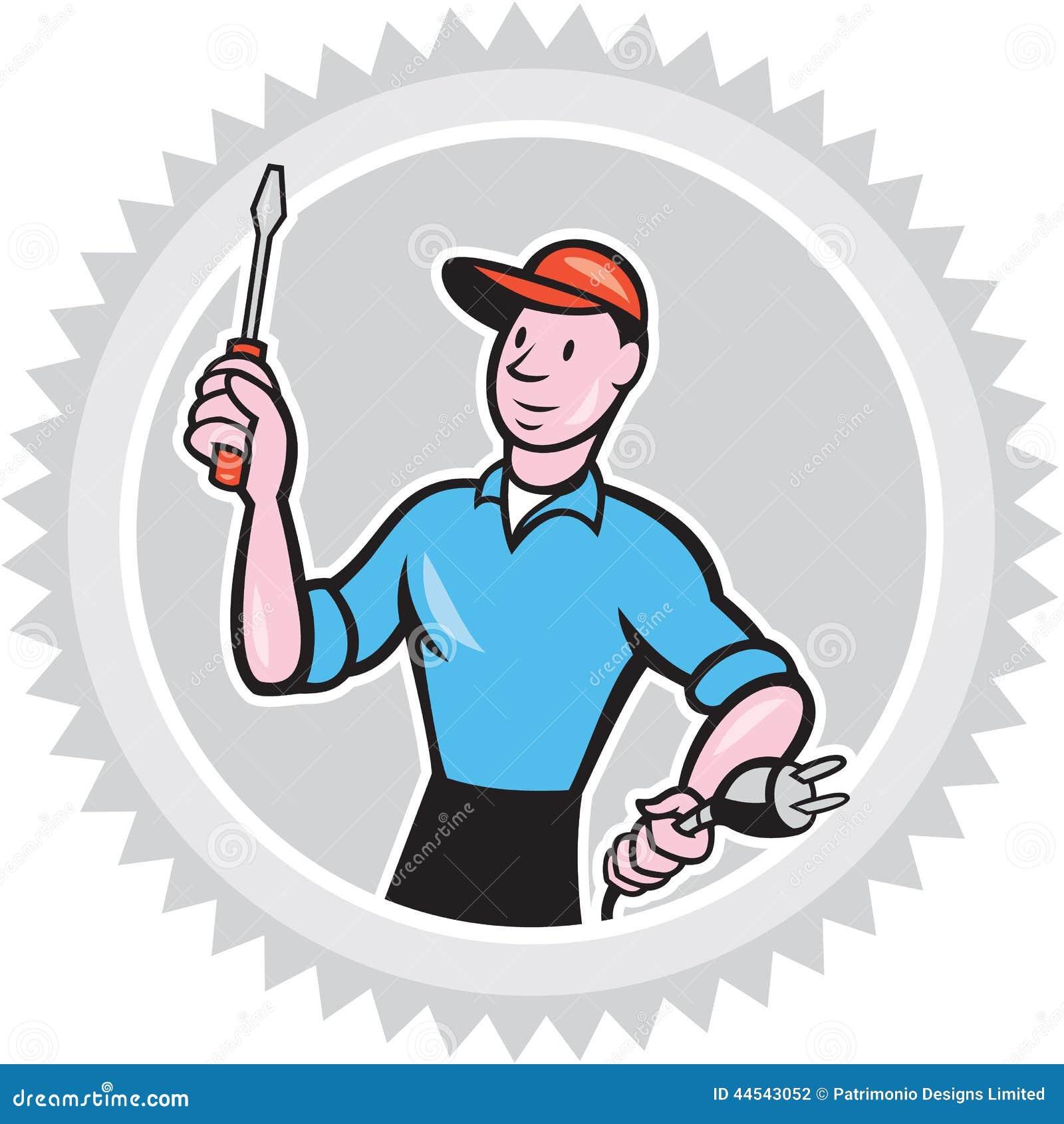 Electrician Screwdriver Plug Rosette Cartoon Stock Vector ...