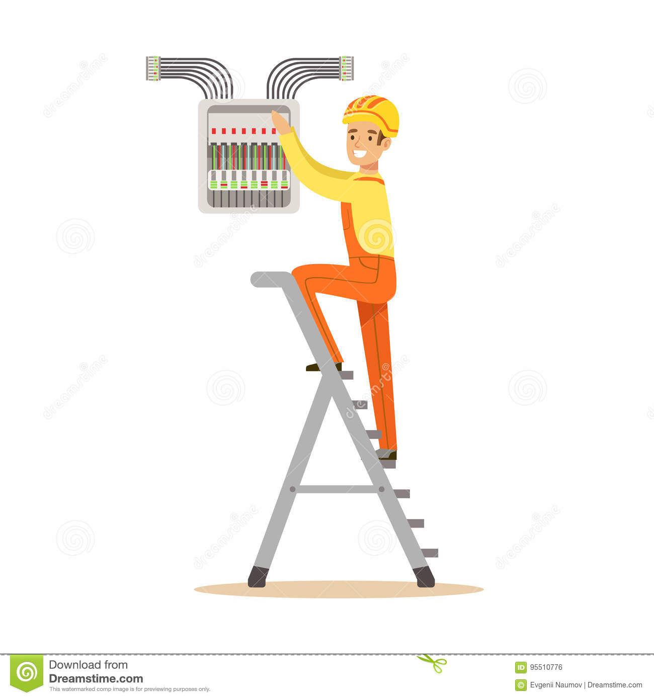 Electrician standing on a stepladder and screwing equipment in fuse box,  electric man performing electrical