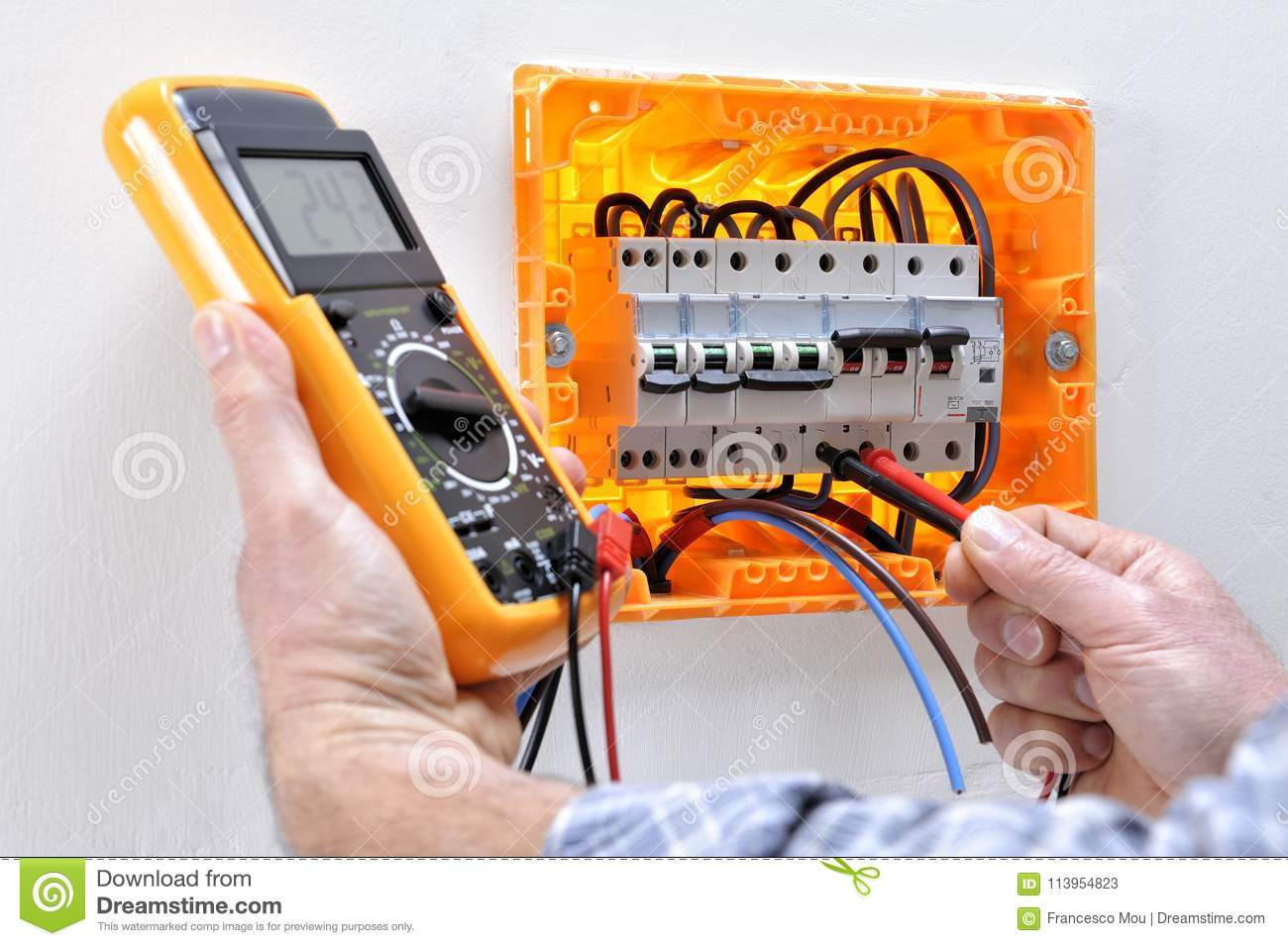Royalty Free Stock Photo Download Electrician Technician At Work On A Residential Electric Panel