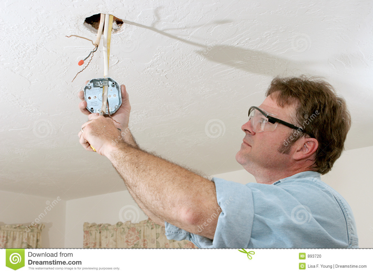 Electrician Wires Ceiling Box Stock Photo Image Of Neutral Copper Wiring Through Walls And Ceilings