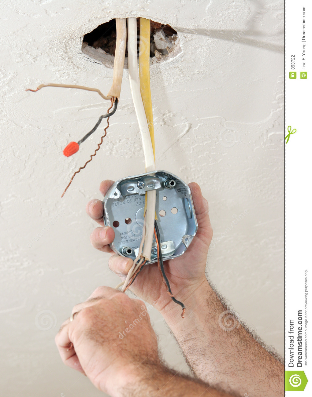 electrician-wiring-ceiling-box-893722 Wire A Ceiling Fan Light on wire a garage, wire a phone jack, wire a celing fan, wire a deck, wire a washer, wire an air conditioner, wire a dishwasher,