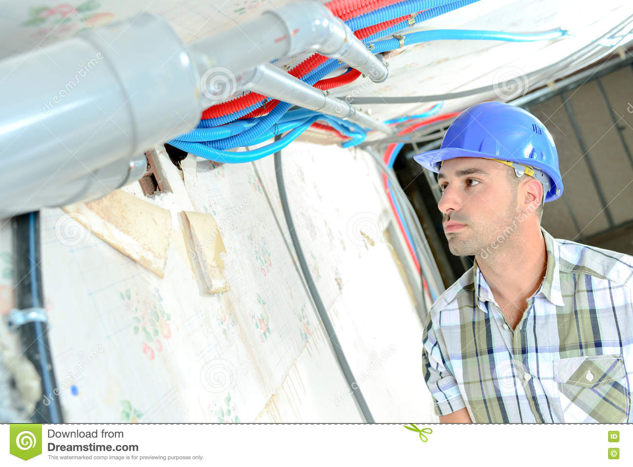 Electrician Wiring New House Stock Photo Image Of Installing A
