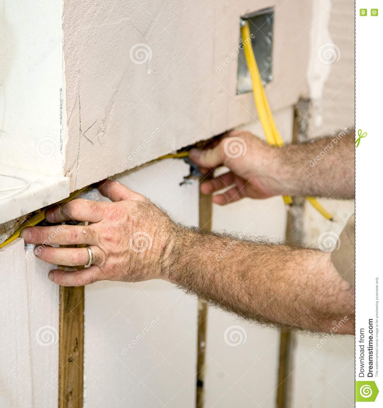 Electrician Wiring The Walls Picture. Image: 6417291 on