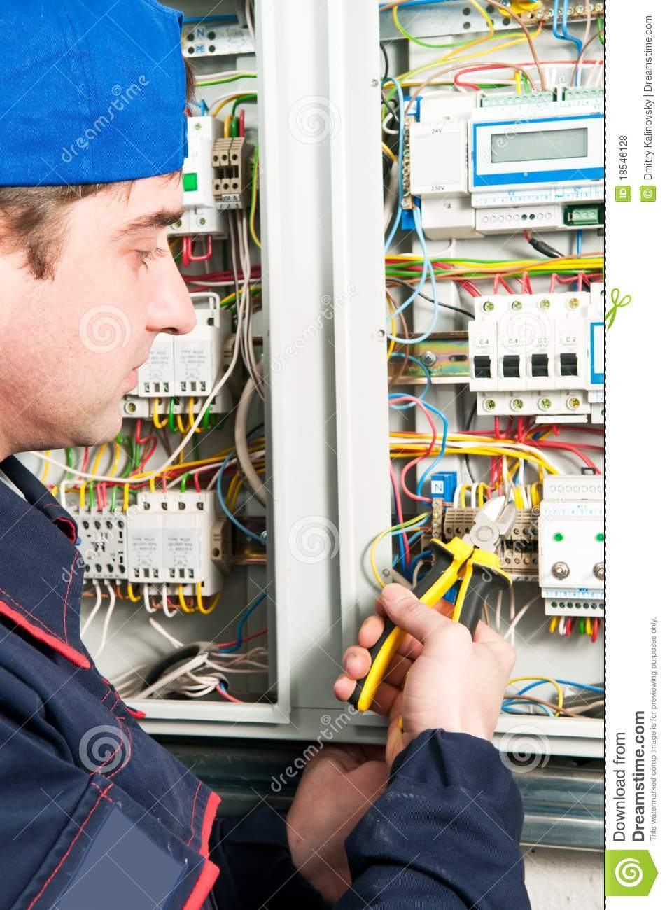 Electrician At Work Stock Photo  Image Of Electricity