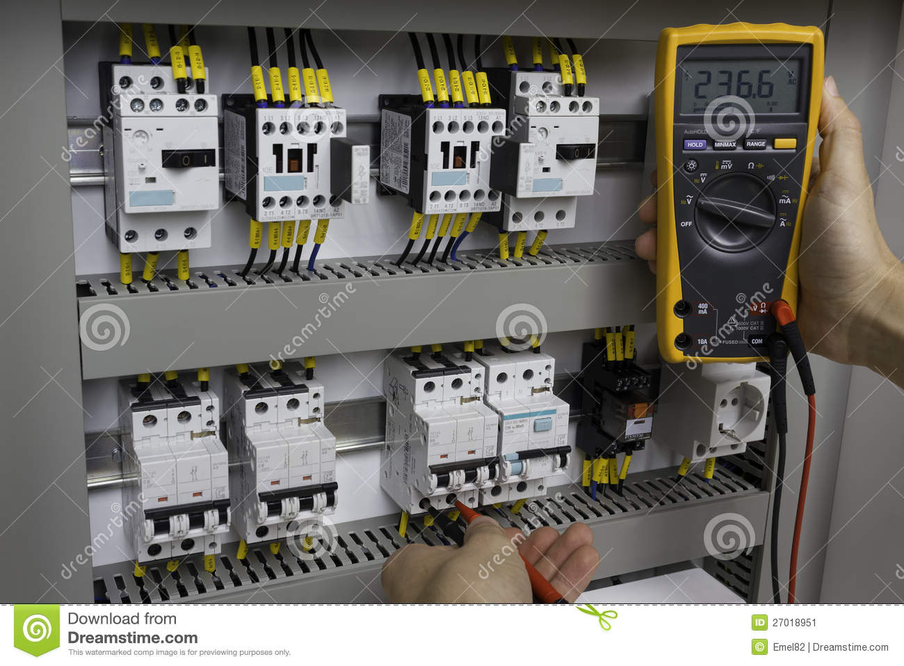 Electrician at work stock image. Image of measuring, control - 27018951