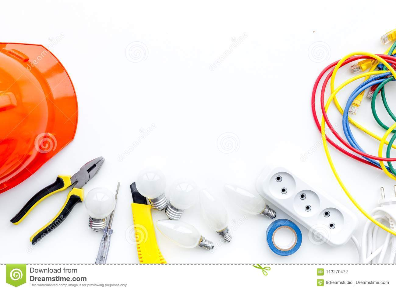 Electrician Work Concept Hard Hat Tools Cabel Socket Outlet On Wiring A White Background